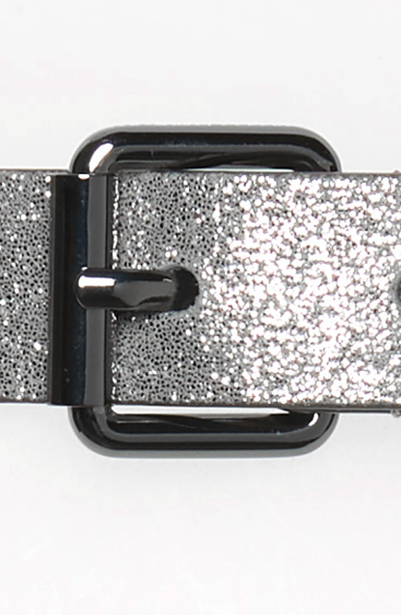 Shimmer Metallic Leather Belt,                             Alternate thumbnail 3, color,                             METALLIC SILVER / GUNMETAL