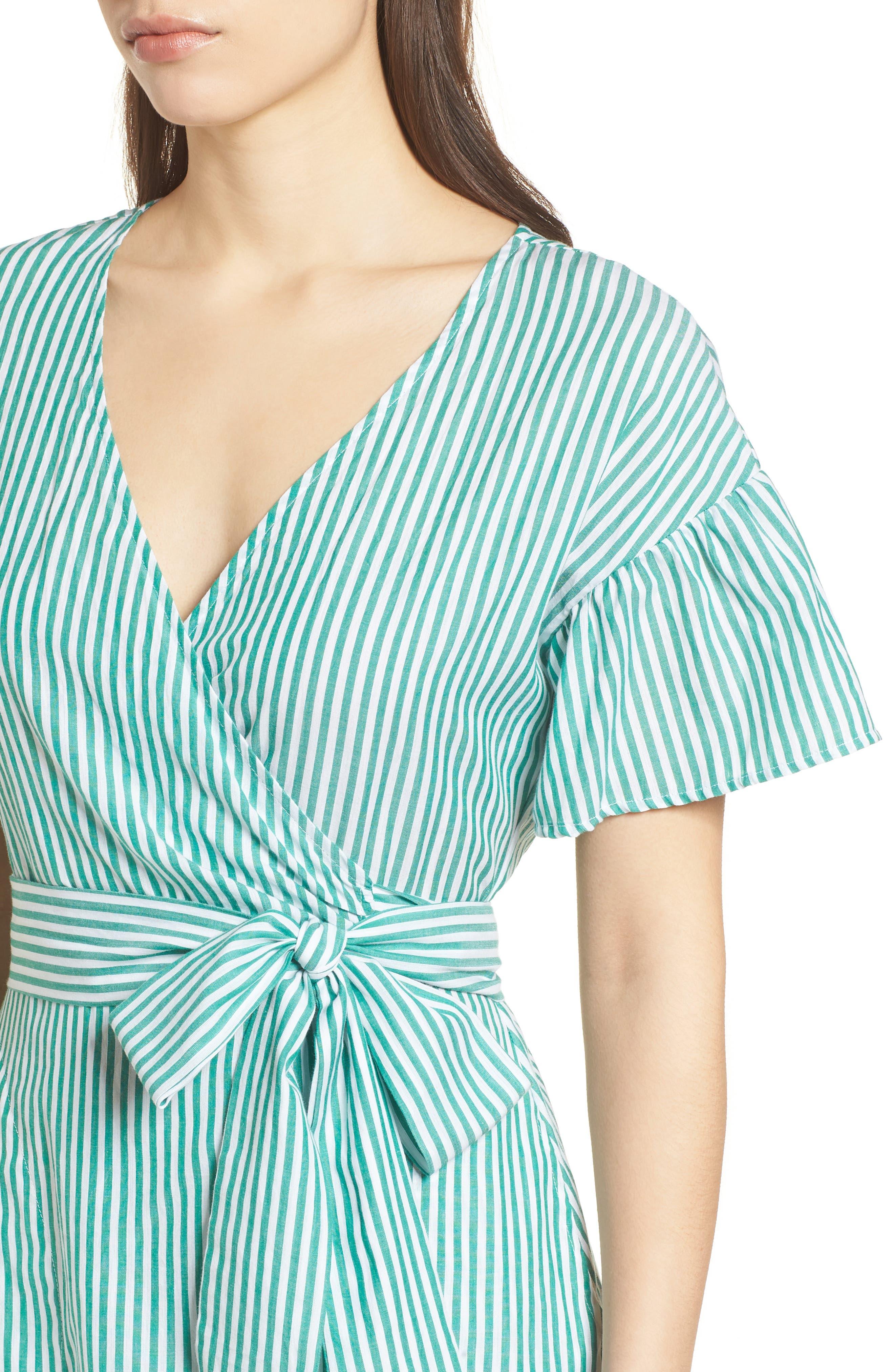 Stripe Cotton Wrap Dress,                             Alternate thumbnail 4, color,                             389