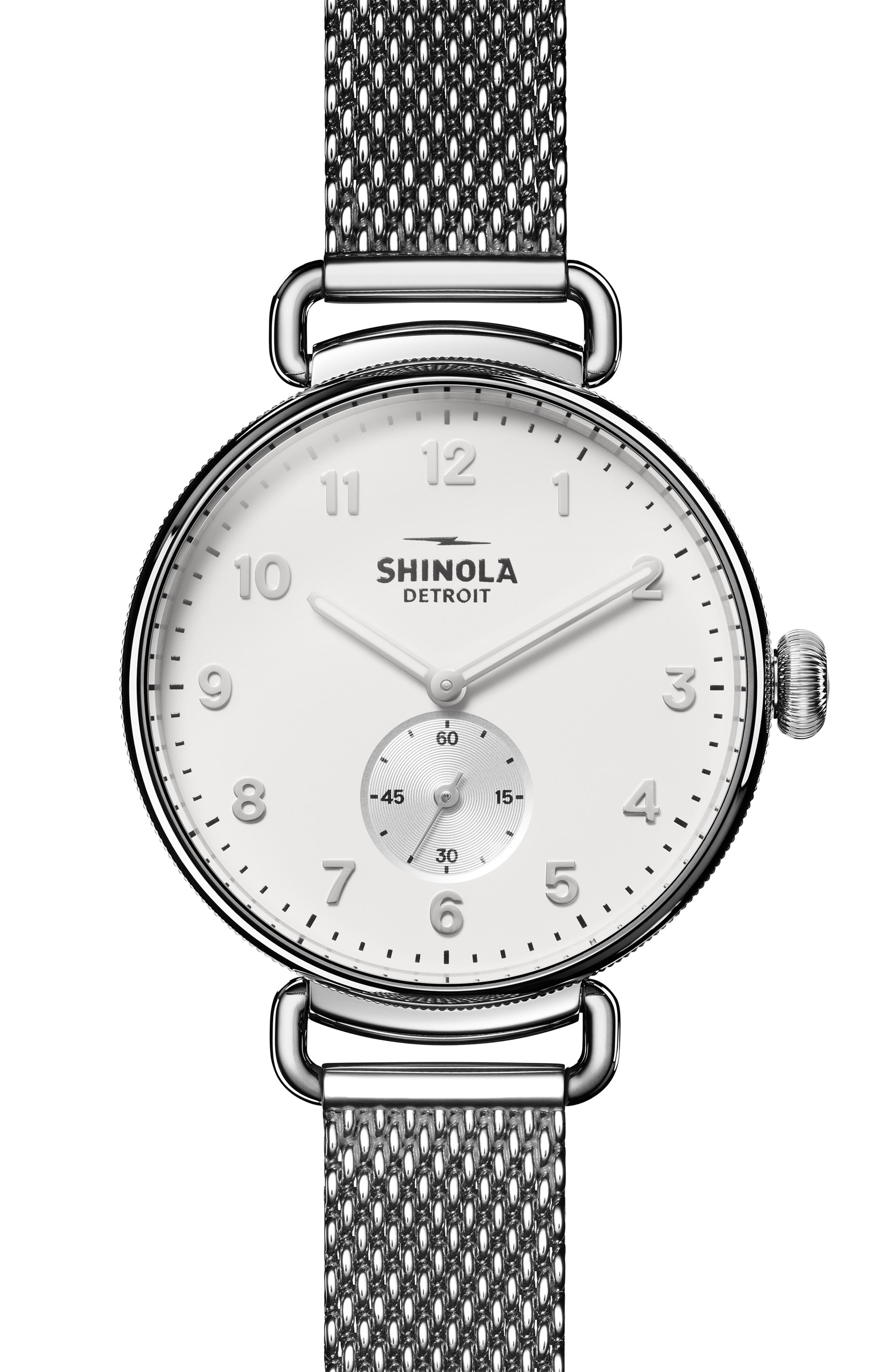 The Canfield Mesh Strap Watch, 38mm,                         Main,                         color, SILVER/ ALABASTER/ SILVER
