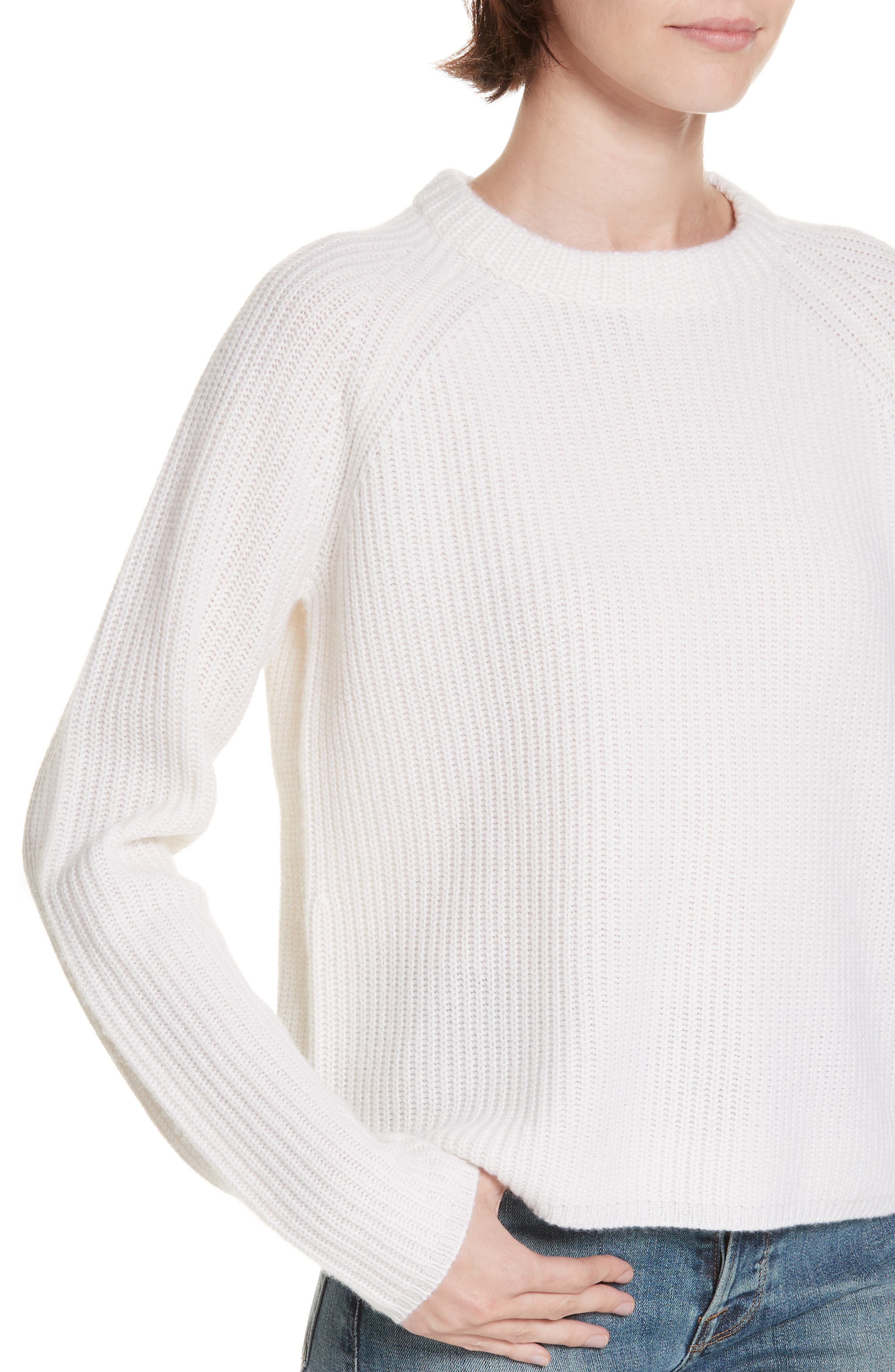Fisherman Crewneck Cashmere Sweater,                             Alternate thumbnail 4, color,                             IVORY