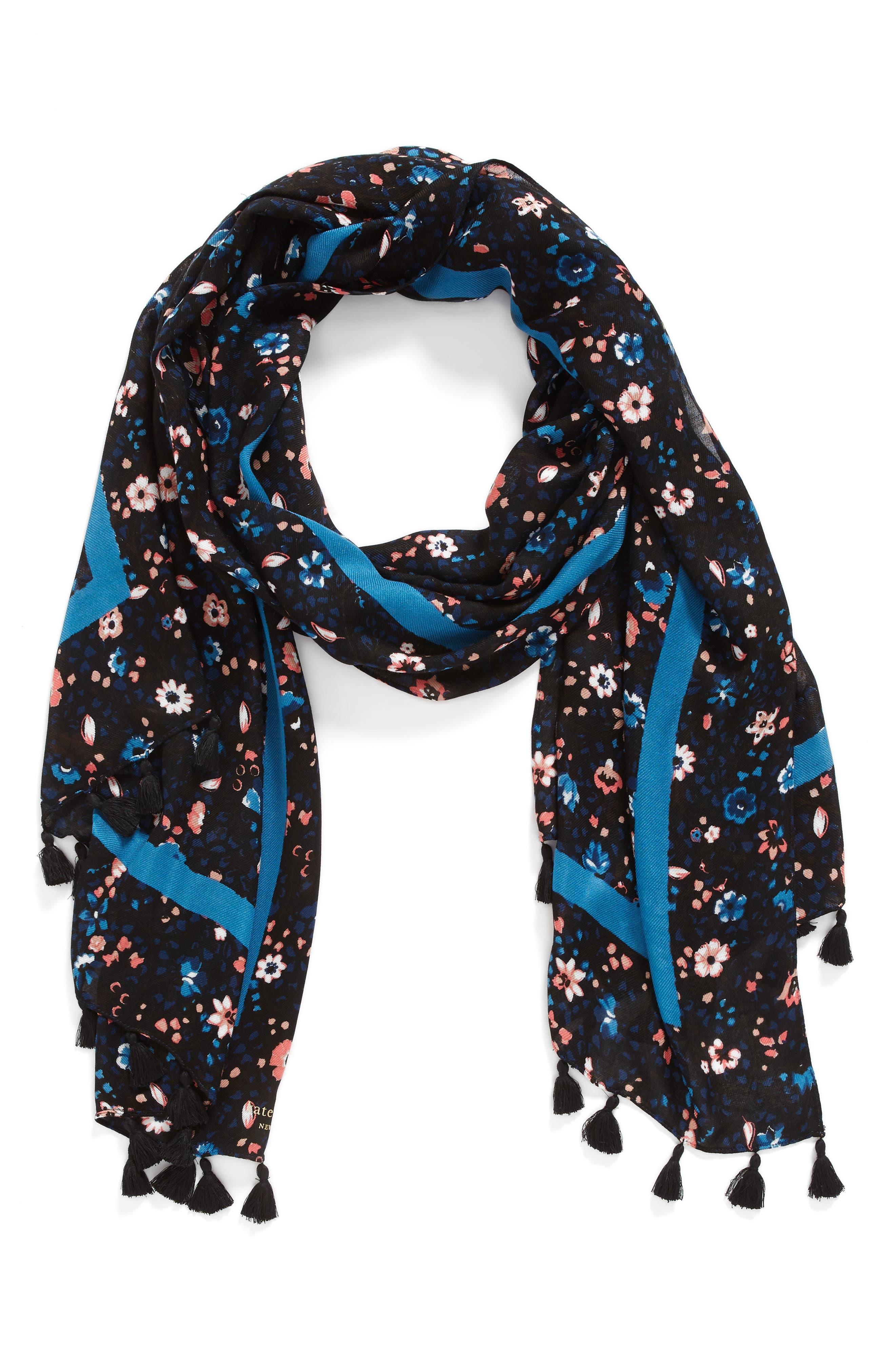 ditsy vine scarf,                             Alternate thumbnail 2, color,                             BLACK