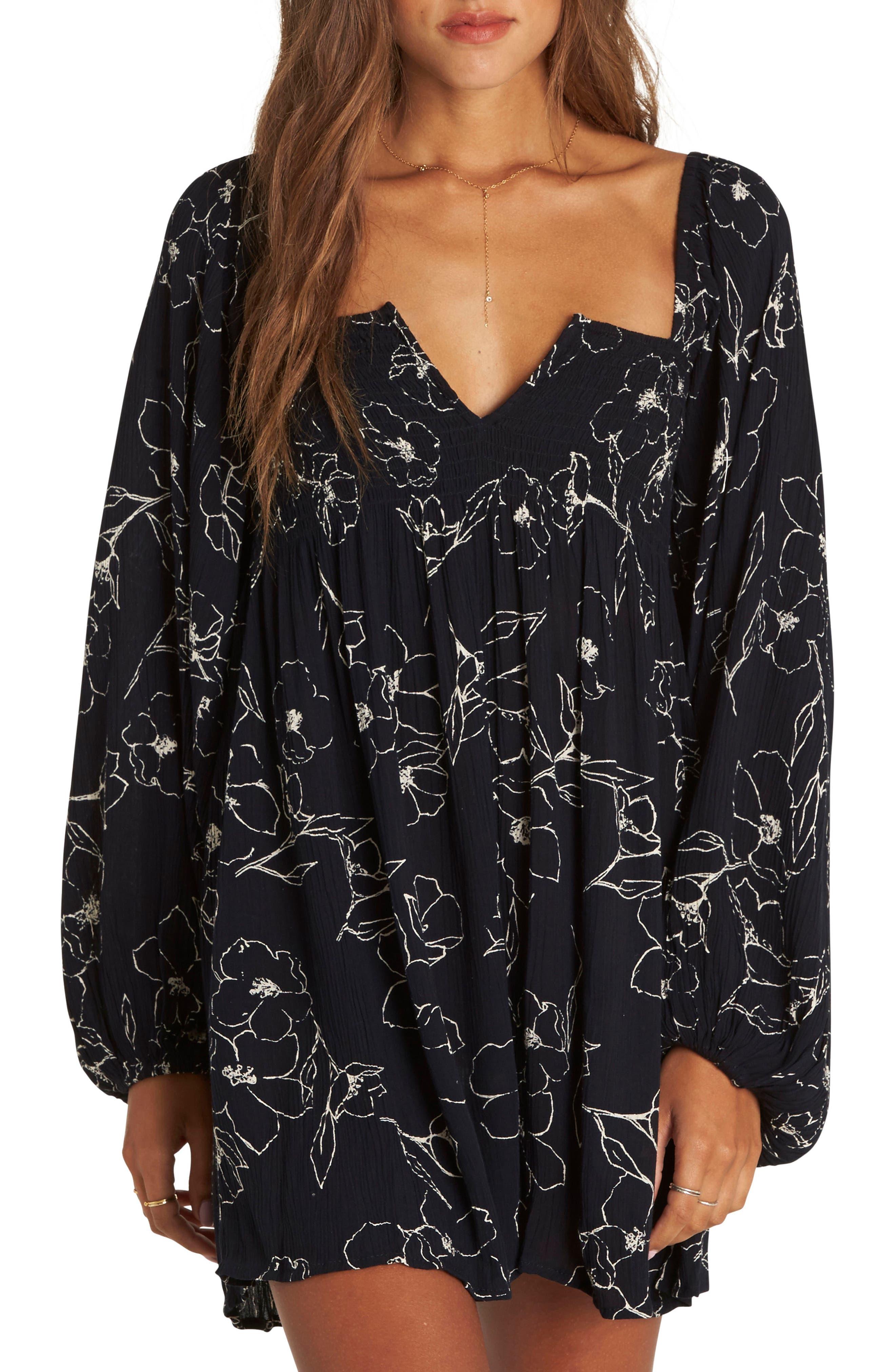 Flower Dance Smock Dress,                         Main,                         color, BLACK