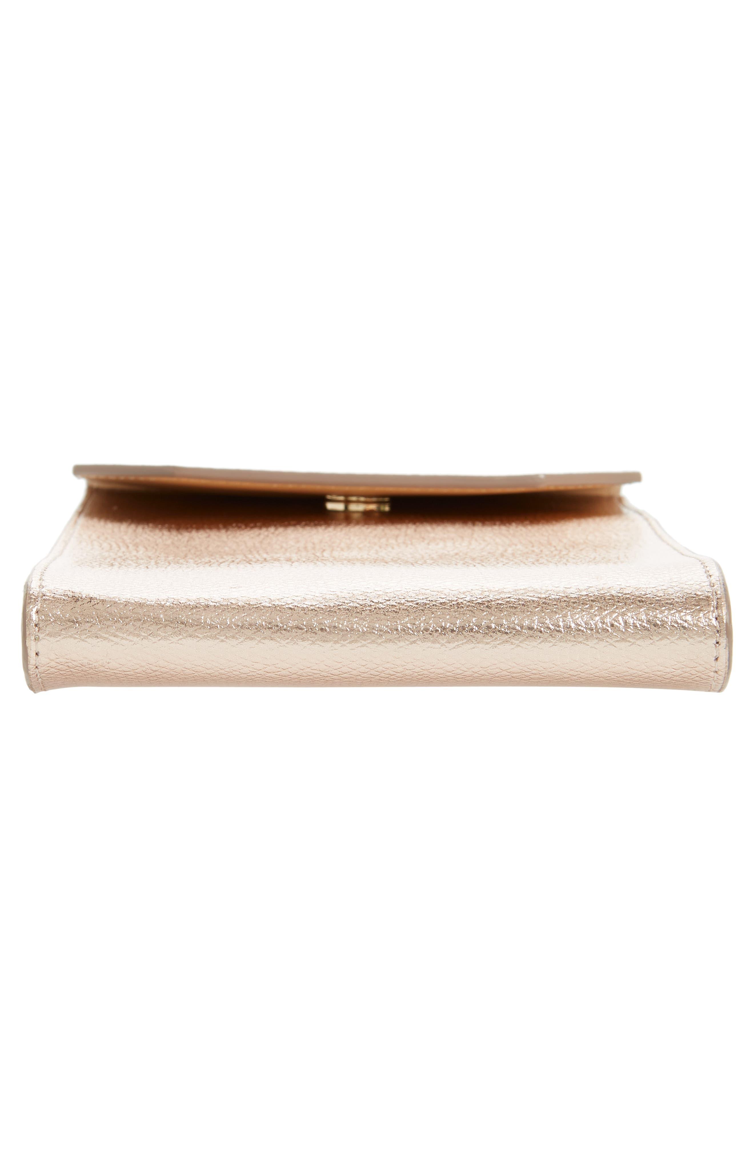 Metallic Leather Phone Crossbody Bag,                             Alternate thumbnail 6, color,                             220