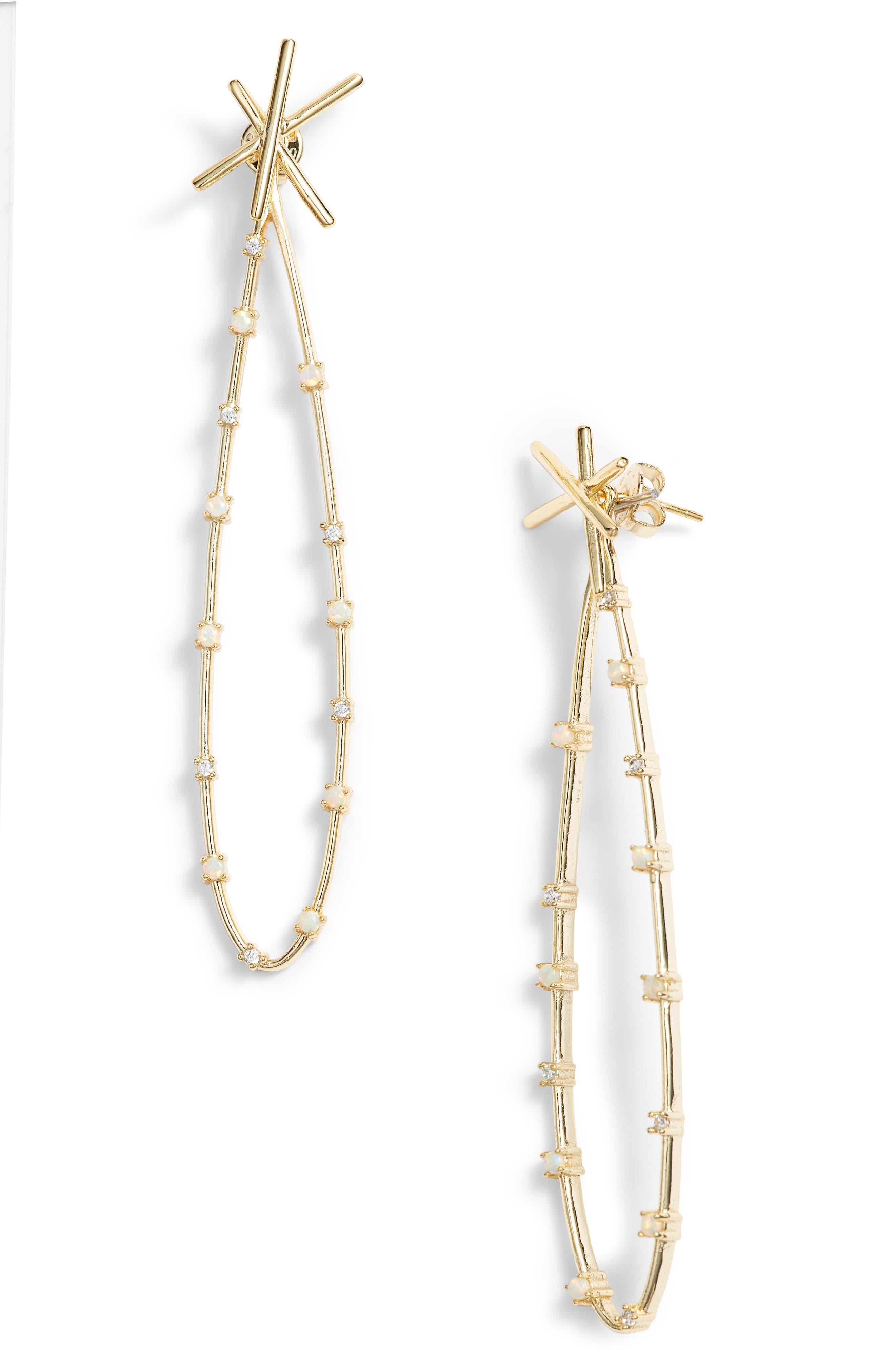 Rose Drop Opal Earring Jackets,                             Main thumbnail 1, color,                             WHITE OPAL/ GOLD