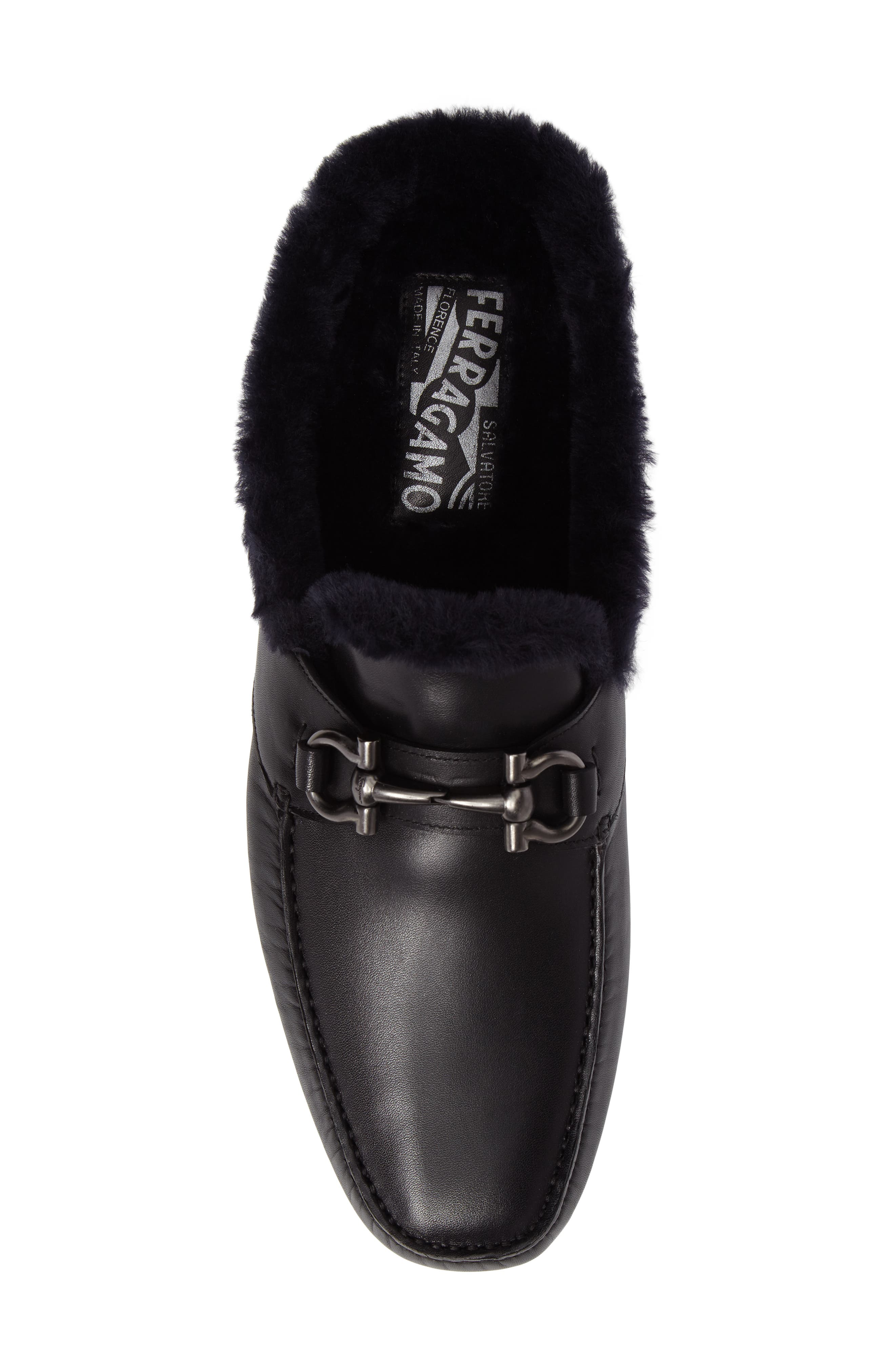 Driving Loafer with Genuine Shearling,                             Alternate thumbnail 5, color,                             001