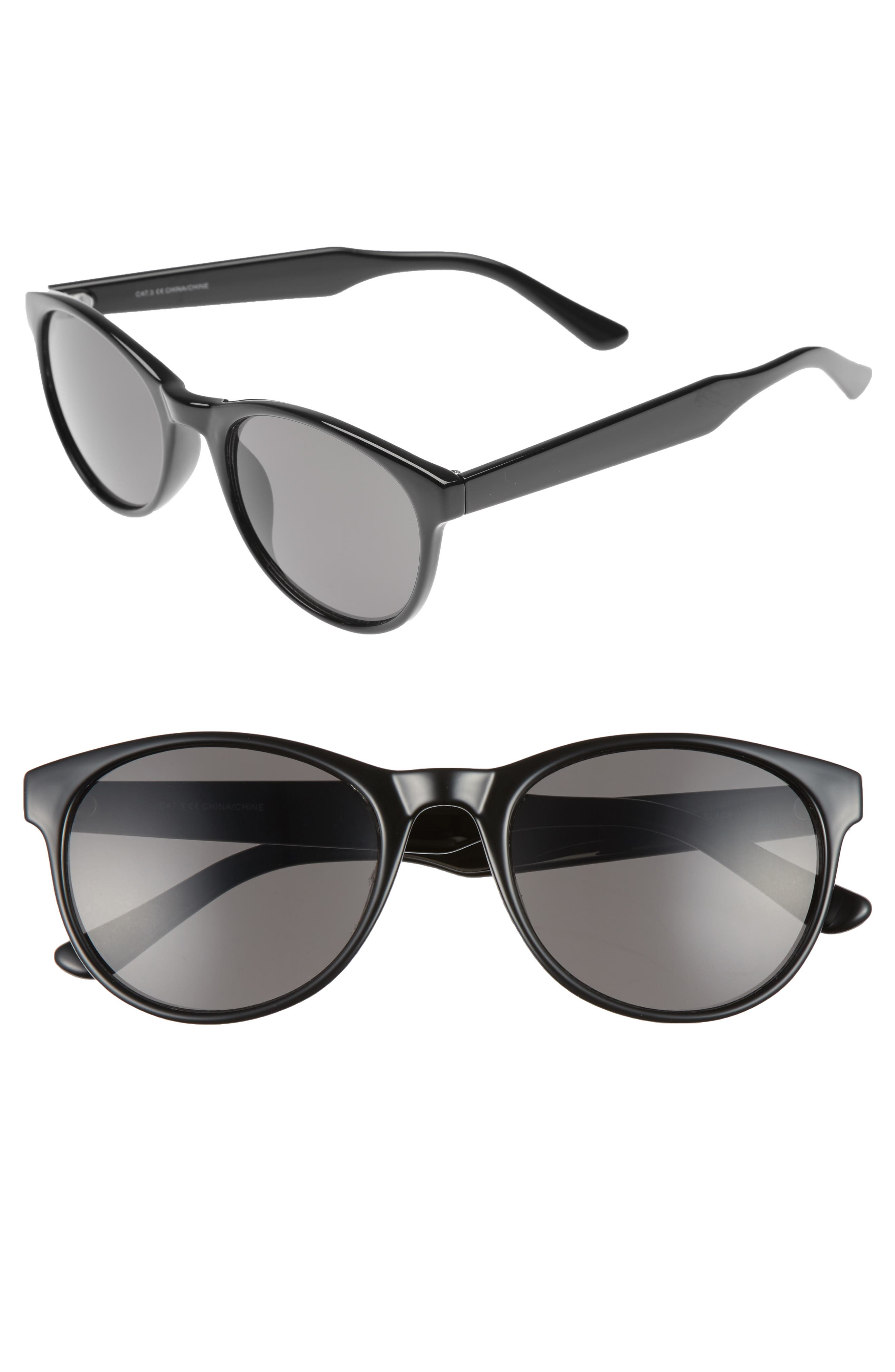 Victor 54mm Sunglasses,                             Main thumbnail 1, color,                             BLACK/ GREY