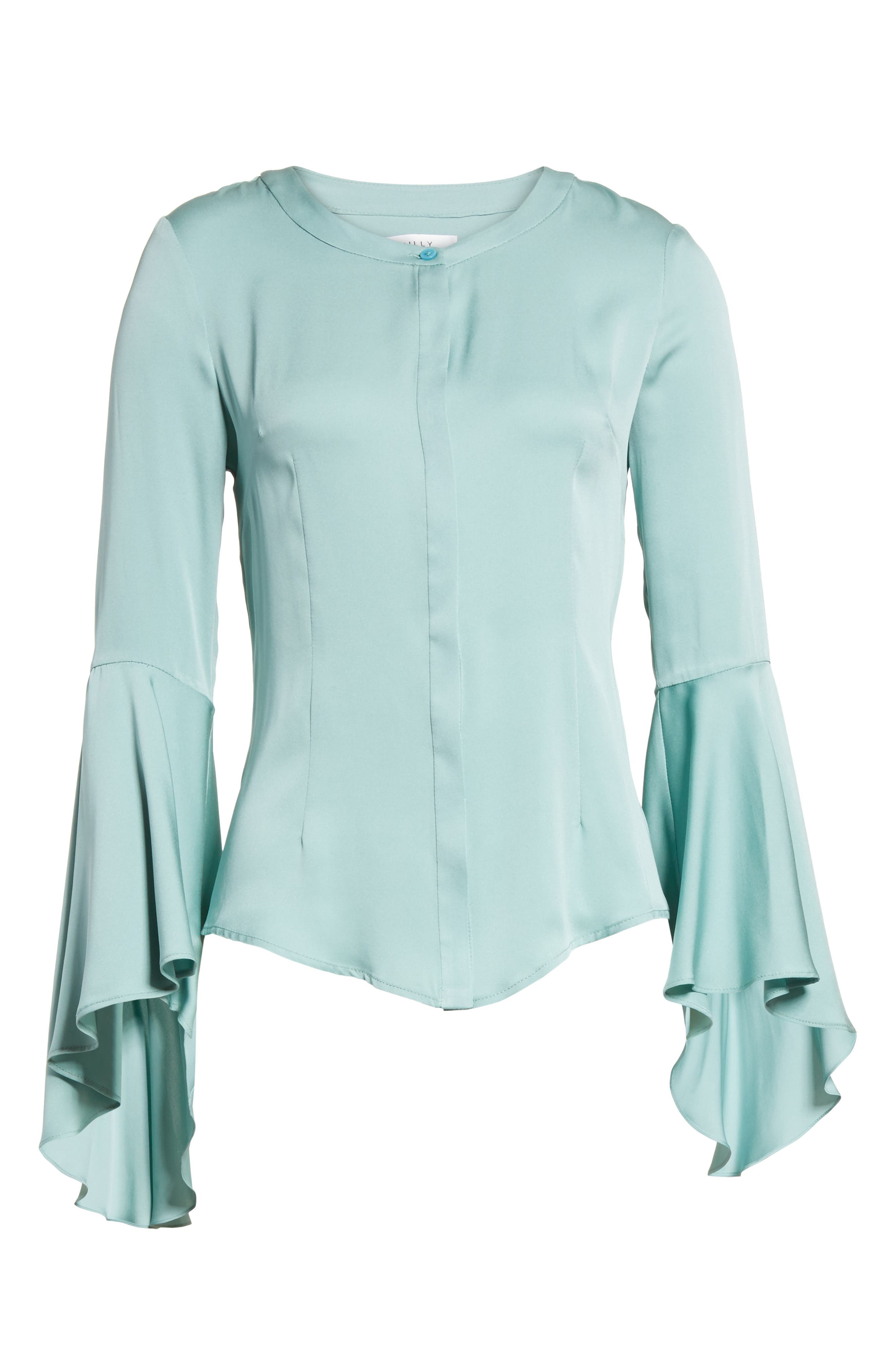 Michelle Bell Sleeve Stretch Silk Blouse,                             Alternate thumbnail 6, color,                             419