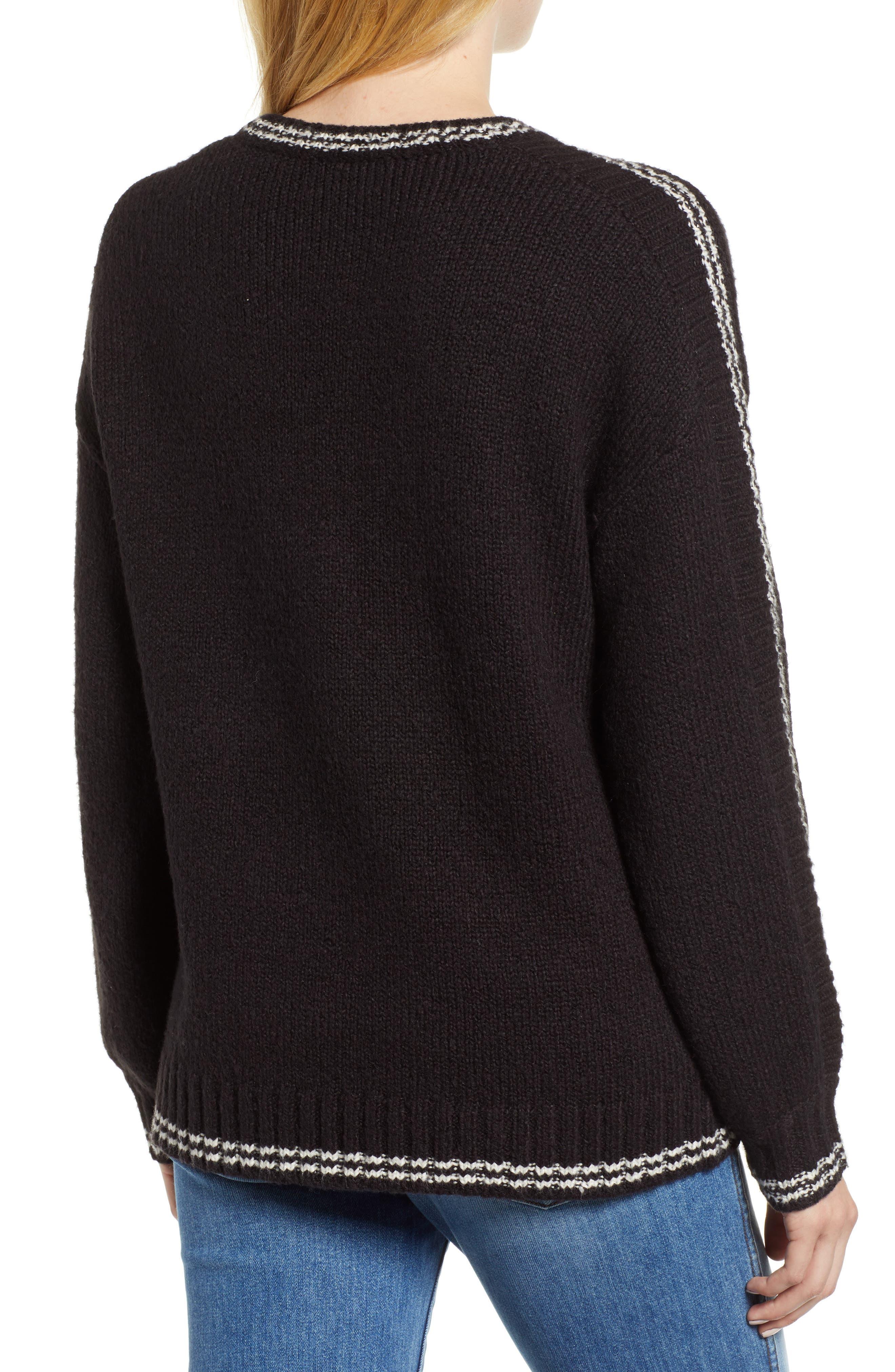 Stripe Sleeve Cotton Blend Sweater,                             Alternate thumbnail 2, color,                             BLACK