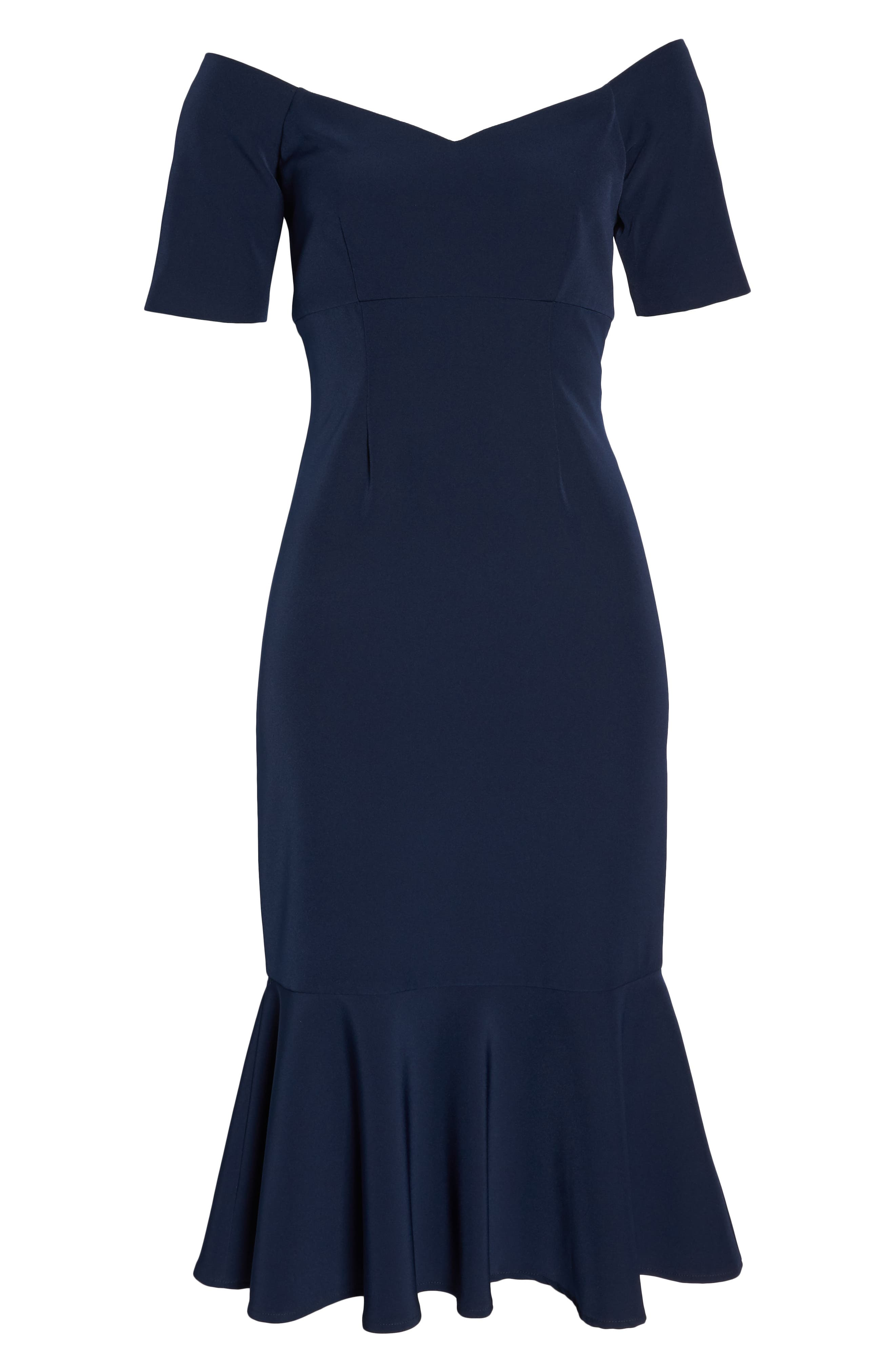 MAGGY LONDON,                             Dream Crepe Off the Shoulder Midi Dress,                             Alternate thumbnail 7, color,                             410