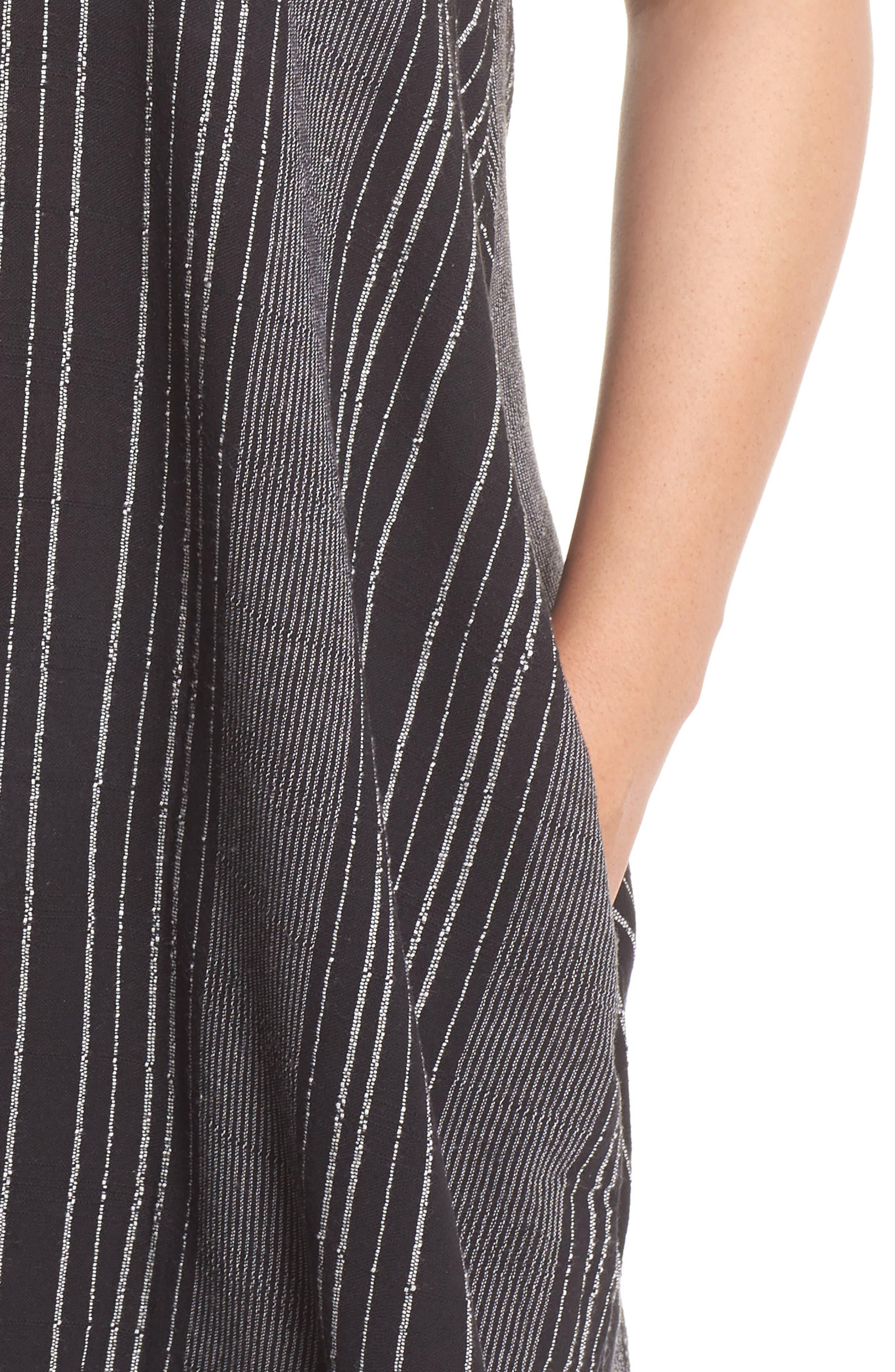 Cover-Up Maxi Dress,                             Alternate thumbnail 4, color,                             BLACK/ WHITE STRIPE