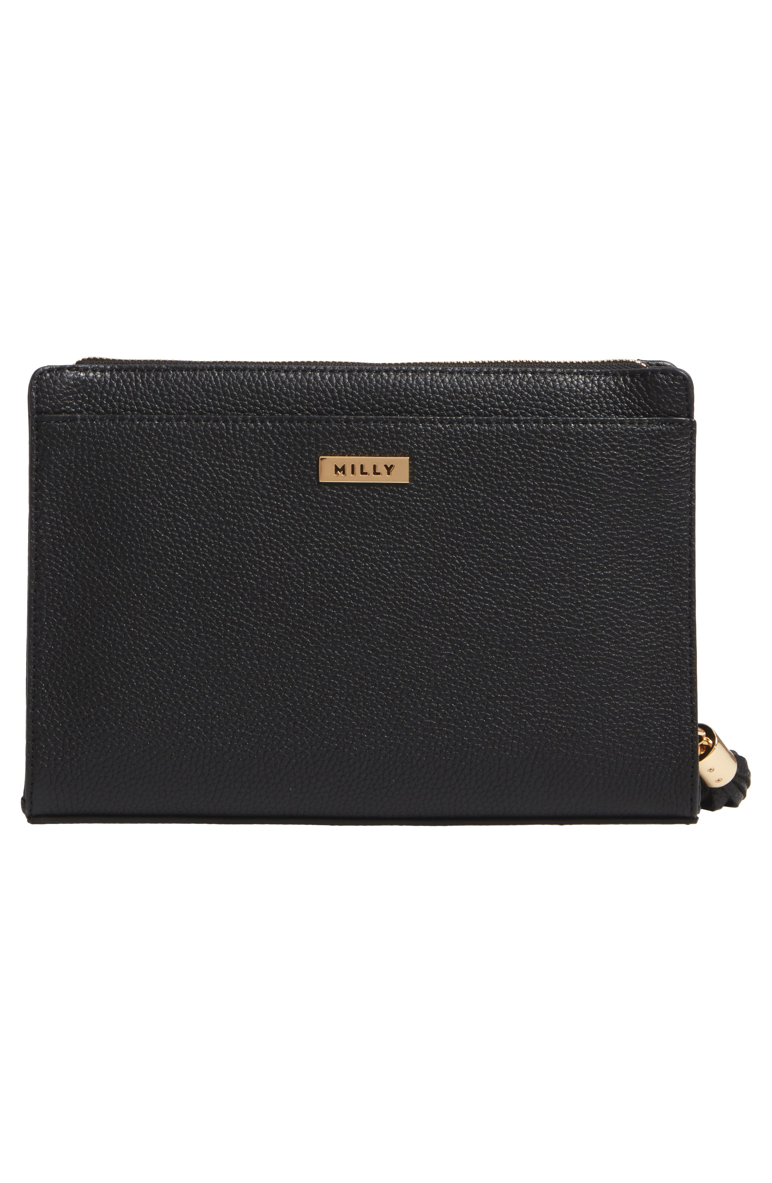 Astor Leather Clutch,                             Alternate thumbnail 3, color,                             001
