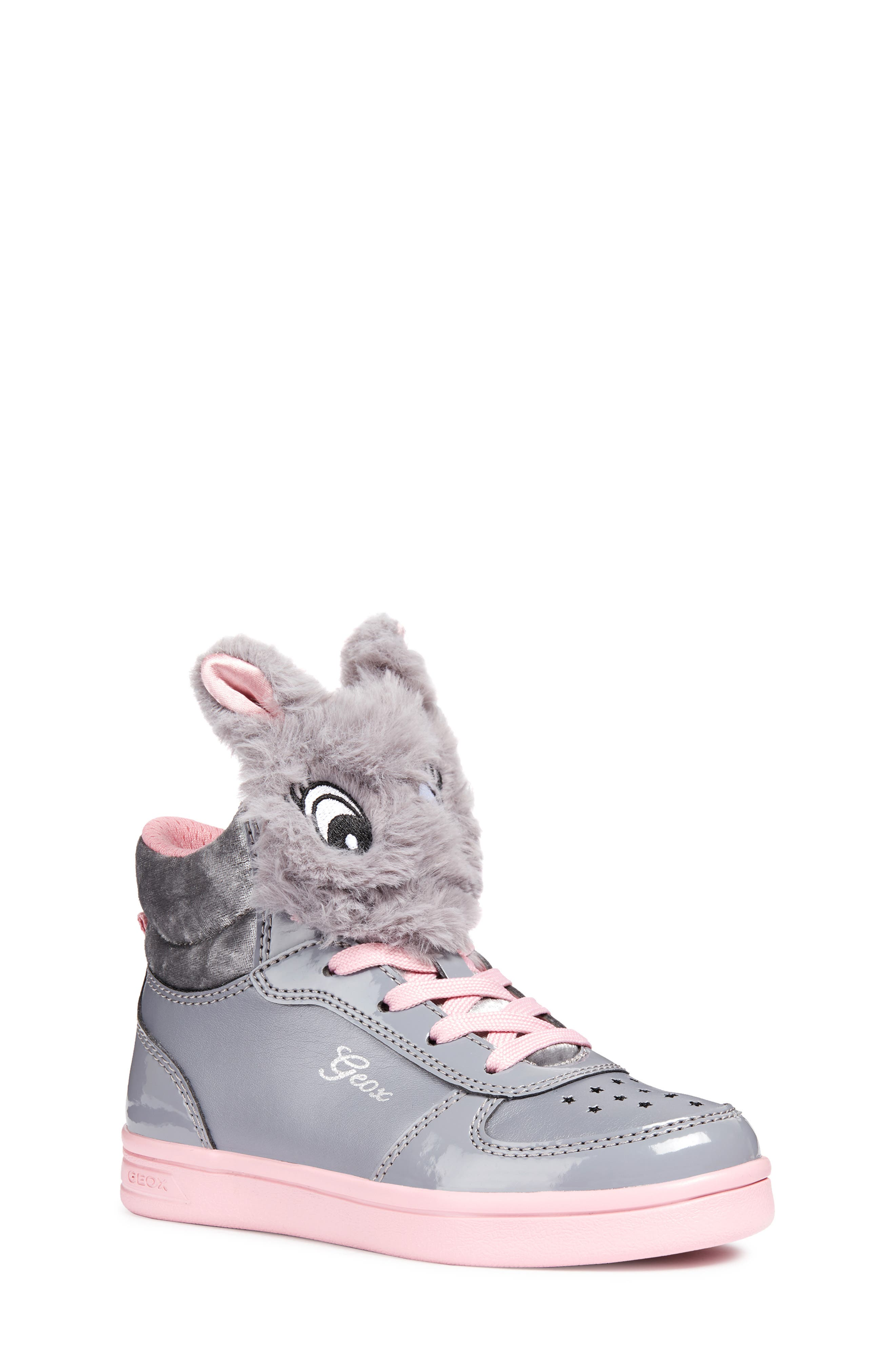 DJ Rock Fuzzy Friend Sneaker,                             Main thumbnail 1, color,                             GREY/PINK