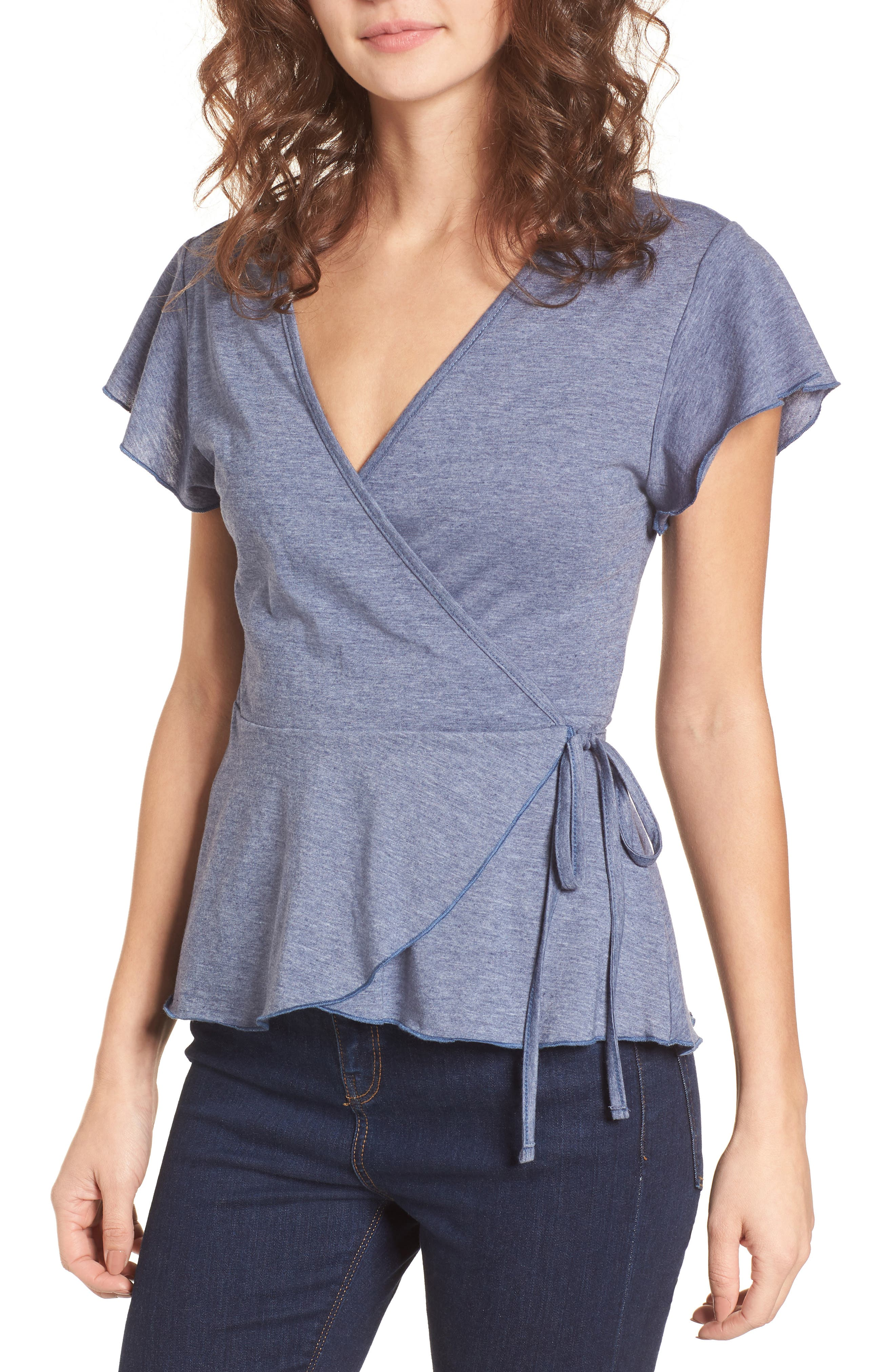 Wrap Peplum Tee,                         Main,                         color, 410