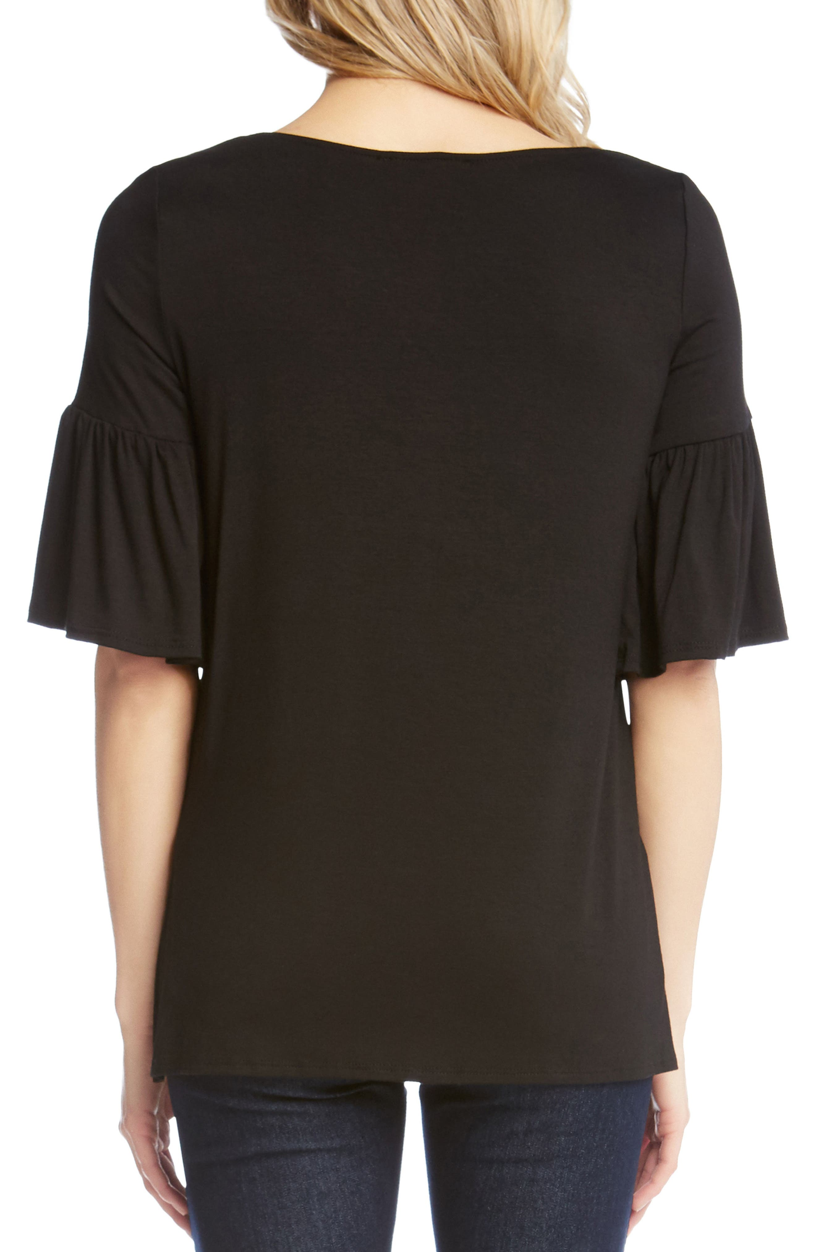 Flare Sleeve Top,                             Alternate thumbnail 2, color,                             BLACK