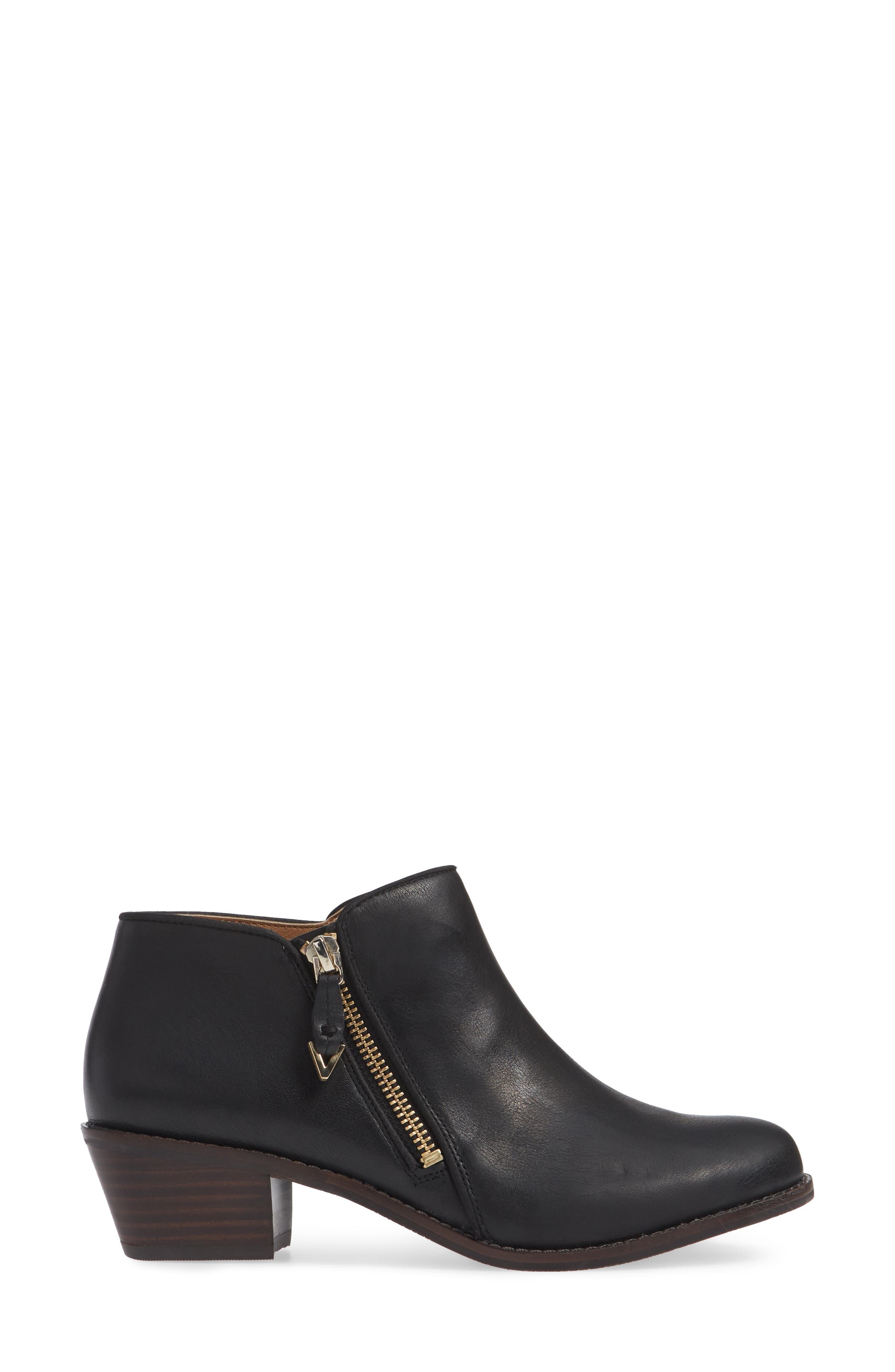 Jolene Bootie,                             Alternate thumbnail 3, color,                             BLACK LEATHER