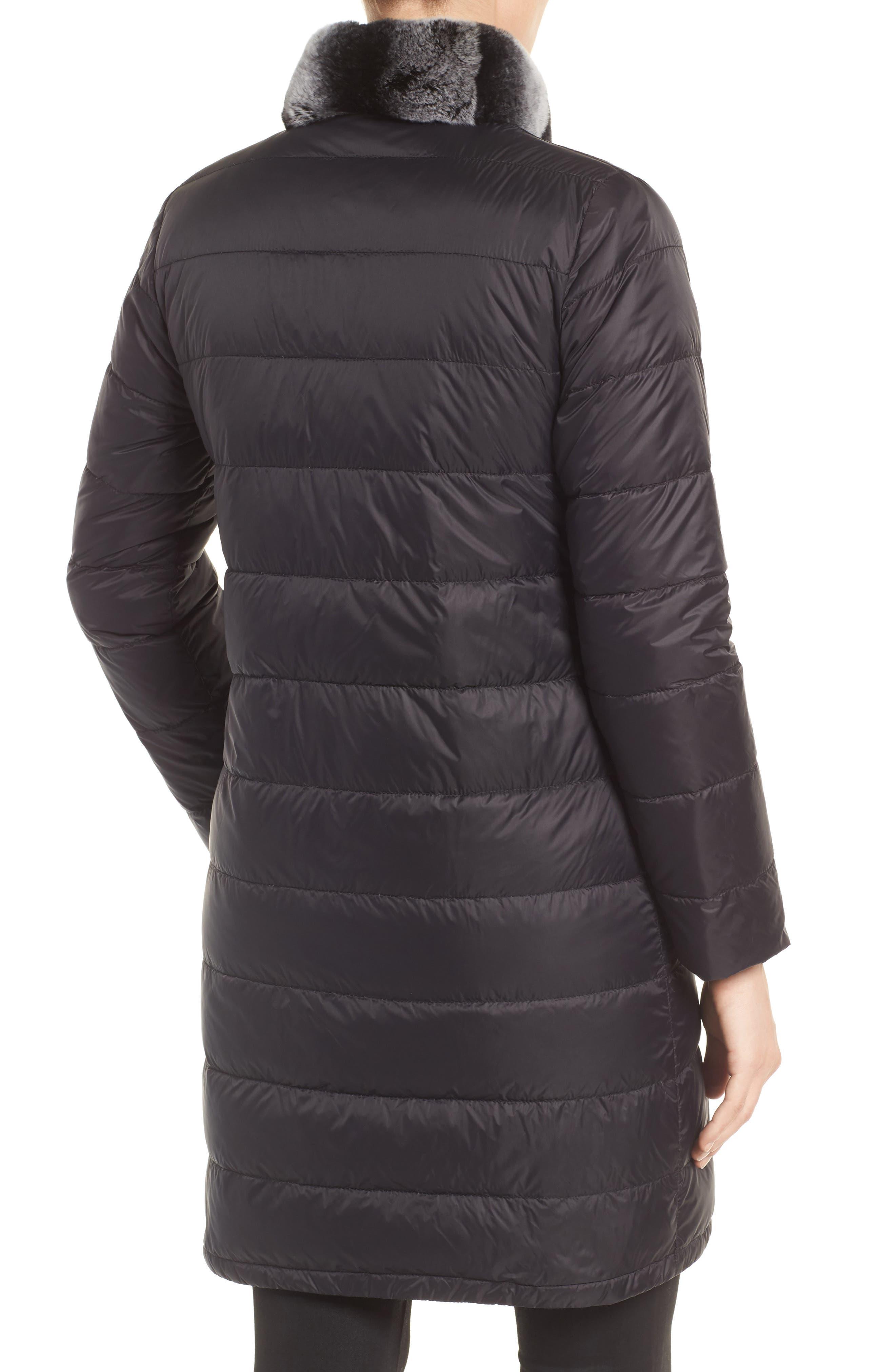 Reversible Genuine Rabbit Fur & Down Coat,                             Alternate thumbnail 2, color,                             BLACK