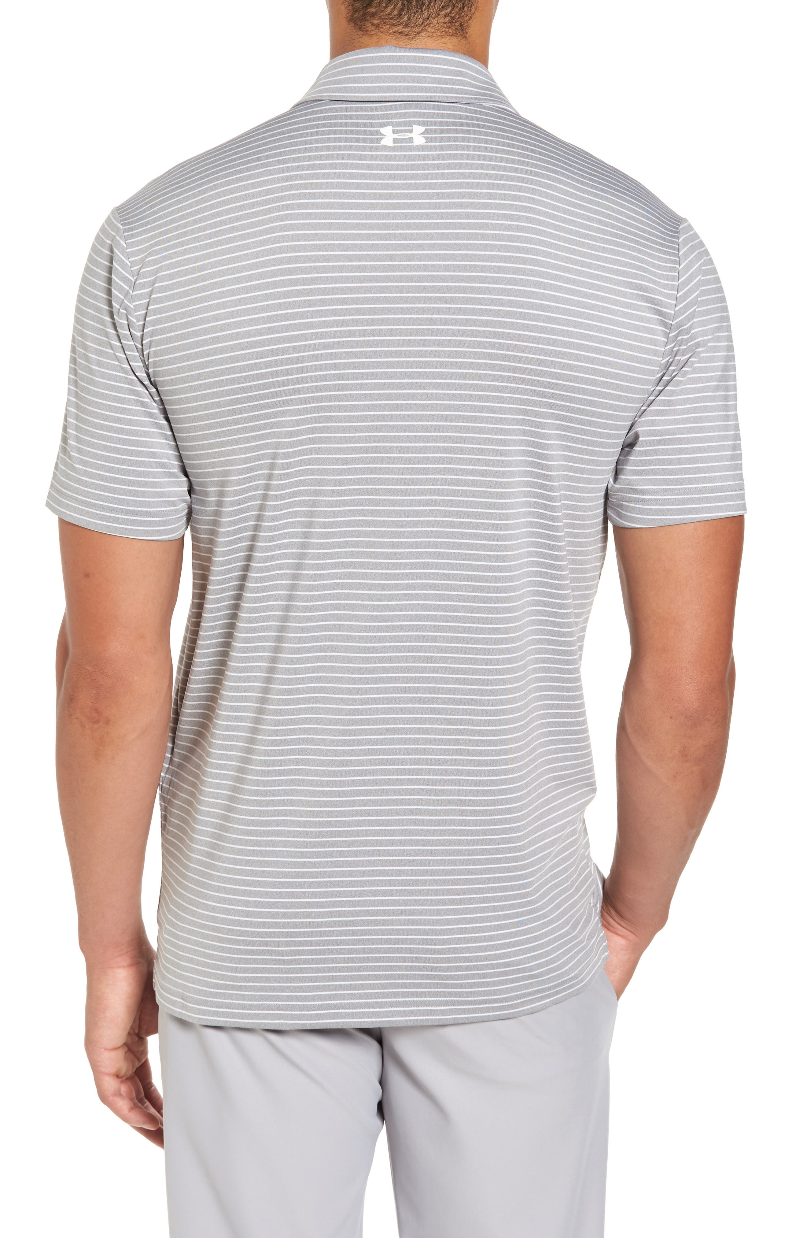 'Playoff' Loose Fit Short Sleeve Polo,                             Alternate thumbnail 2, color,                             TRUE GREY HEATHER/ WHT STRIPE