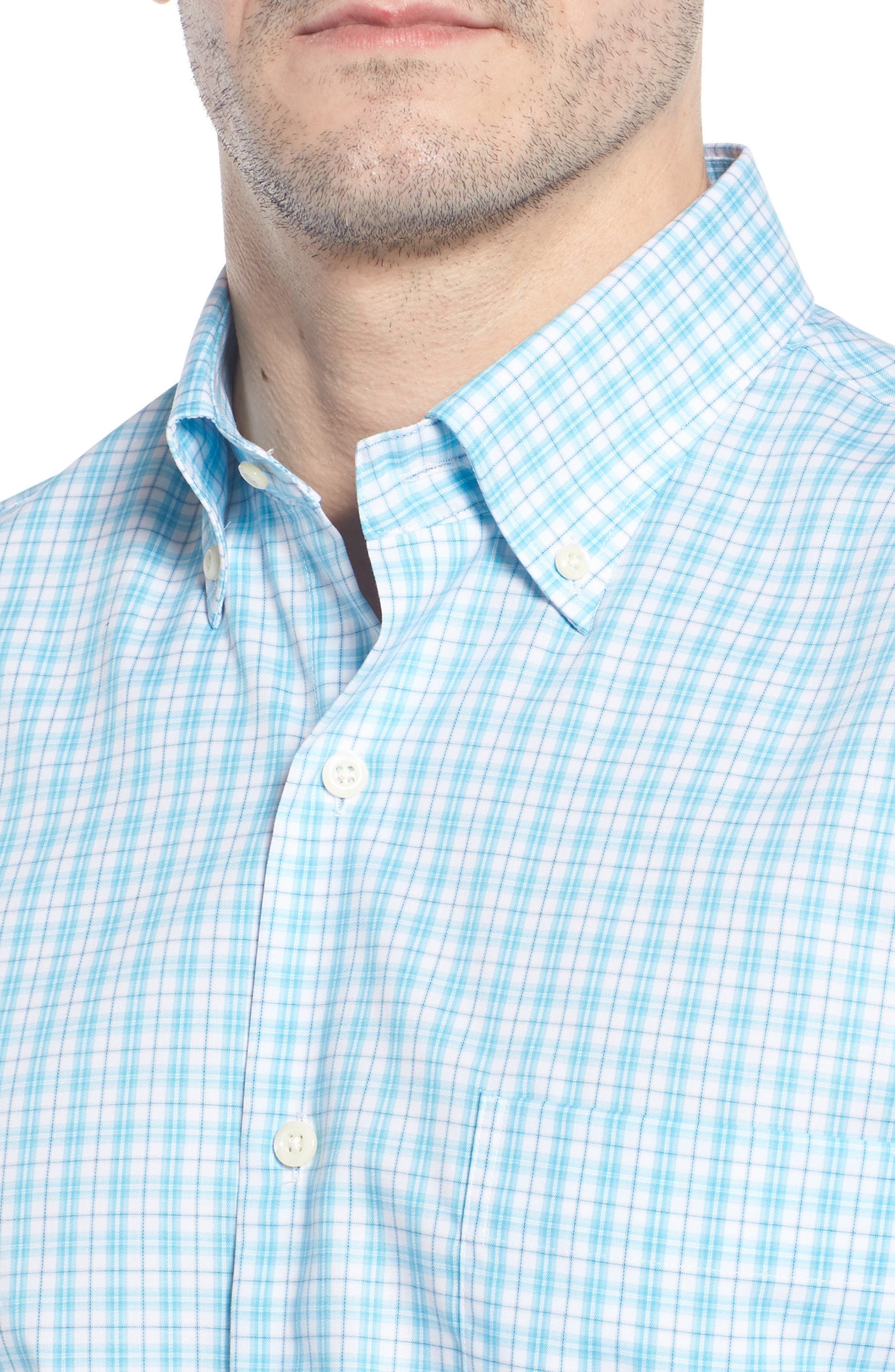 PETER MILLAR,                             Crown Ease Eventide Check Sport Shirt,                             Alternate thumbnail 4, color,                             BLUE FISH