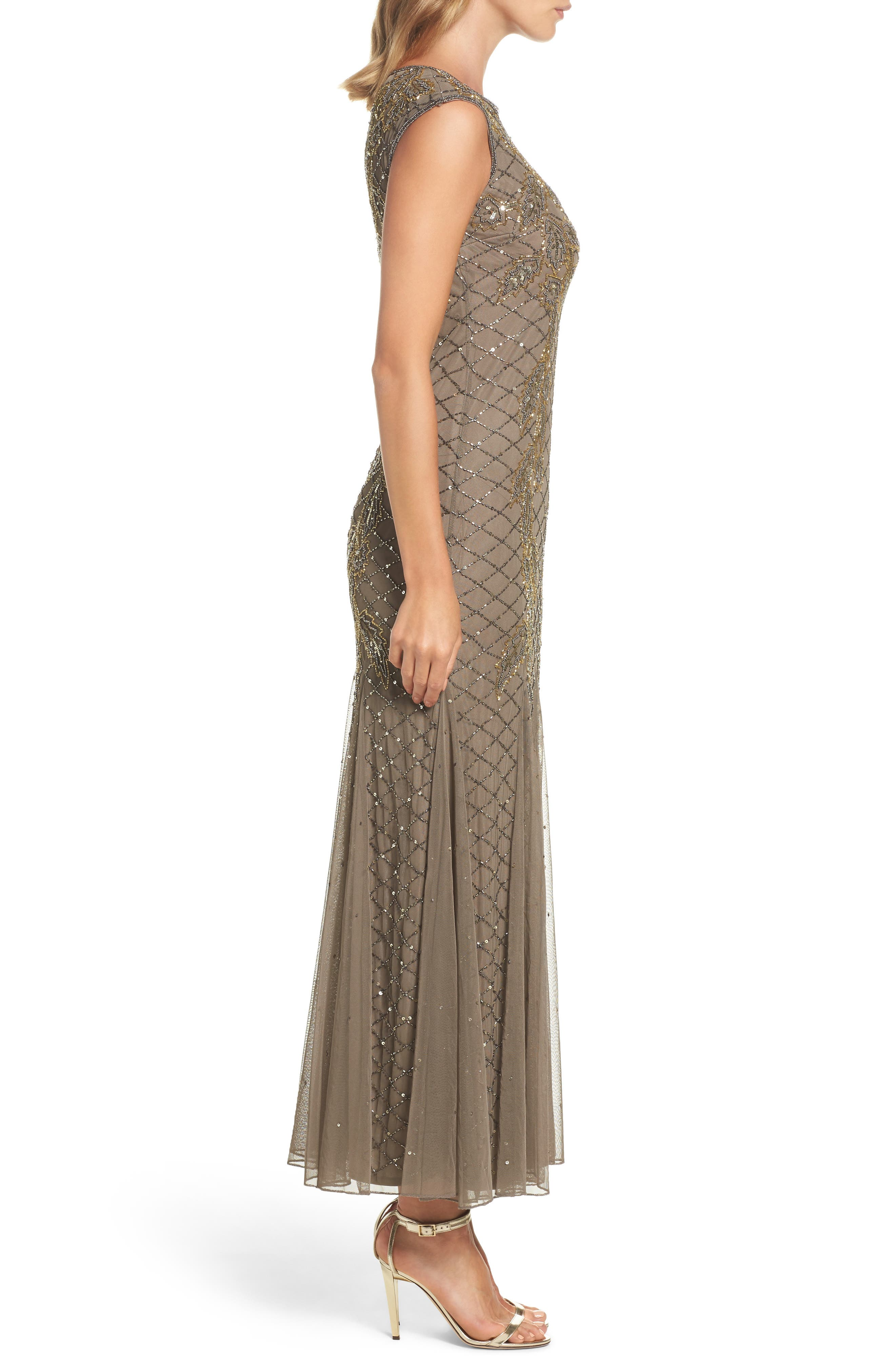 Flame Motif Embellished Gown,                             Alternate thumbnail 3, color,                             230