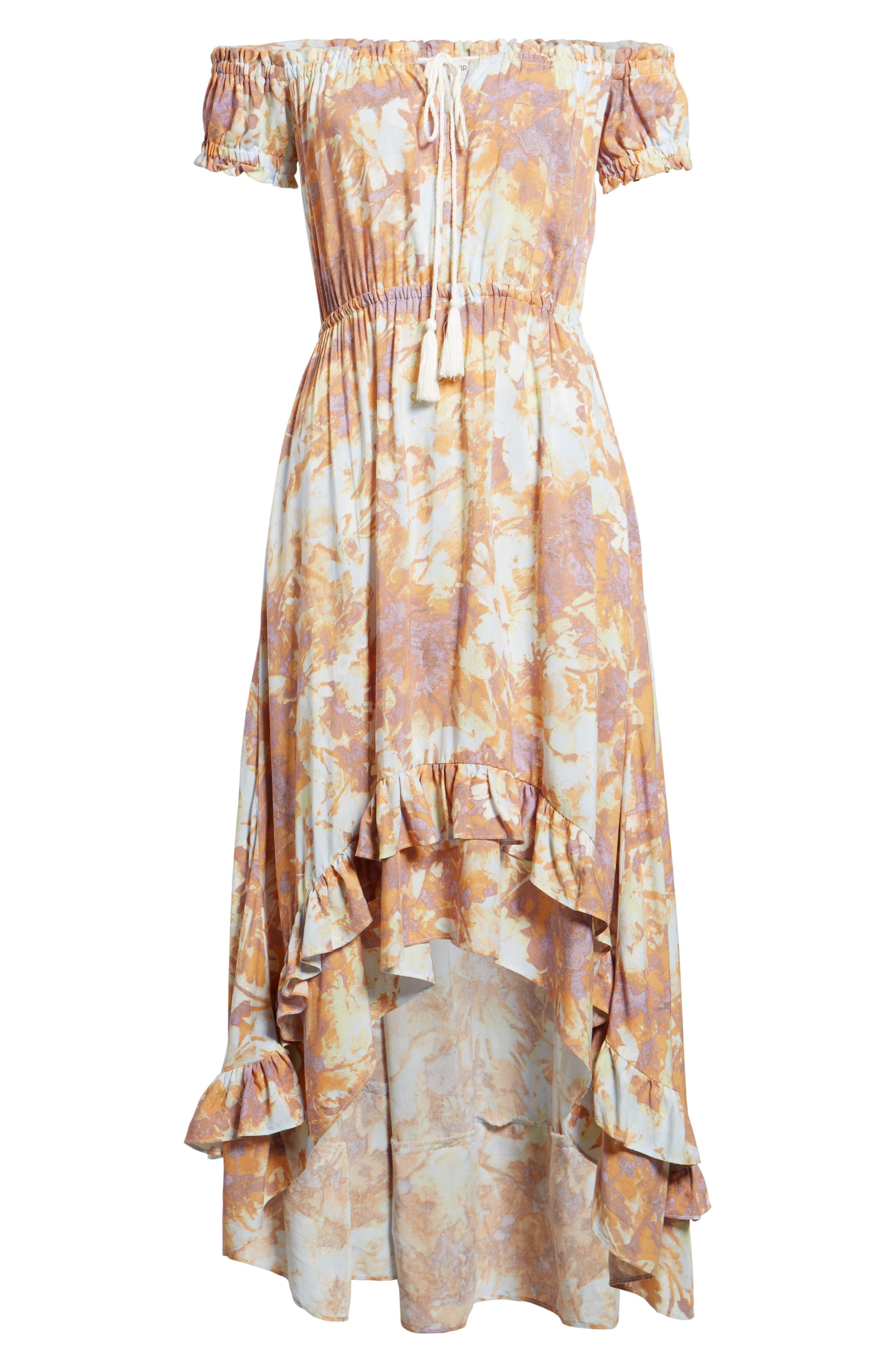 High/Low Hem Off the Shoulder Dress,                             Alternate thumbnail 6, color,