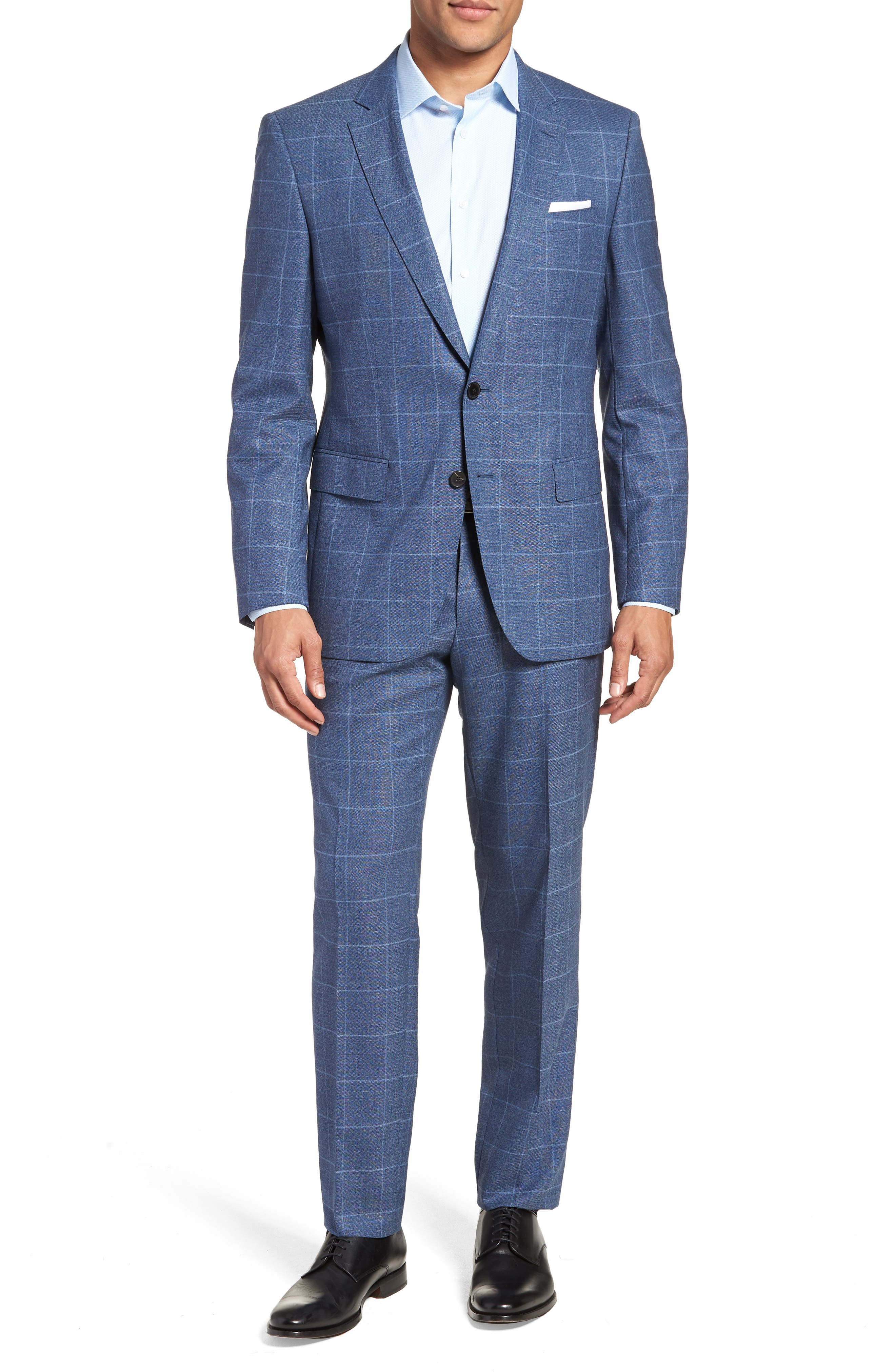 Huge/Genius Trim Fit Windowpane Wool Suit,                             Main thumbnail 1, color,                             400
