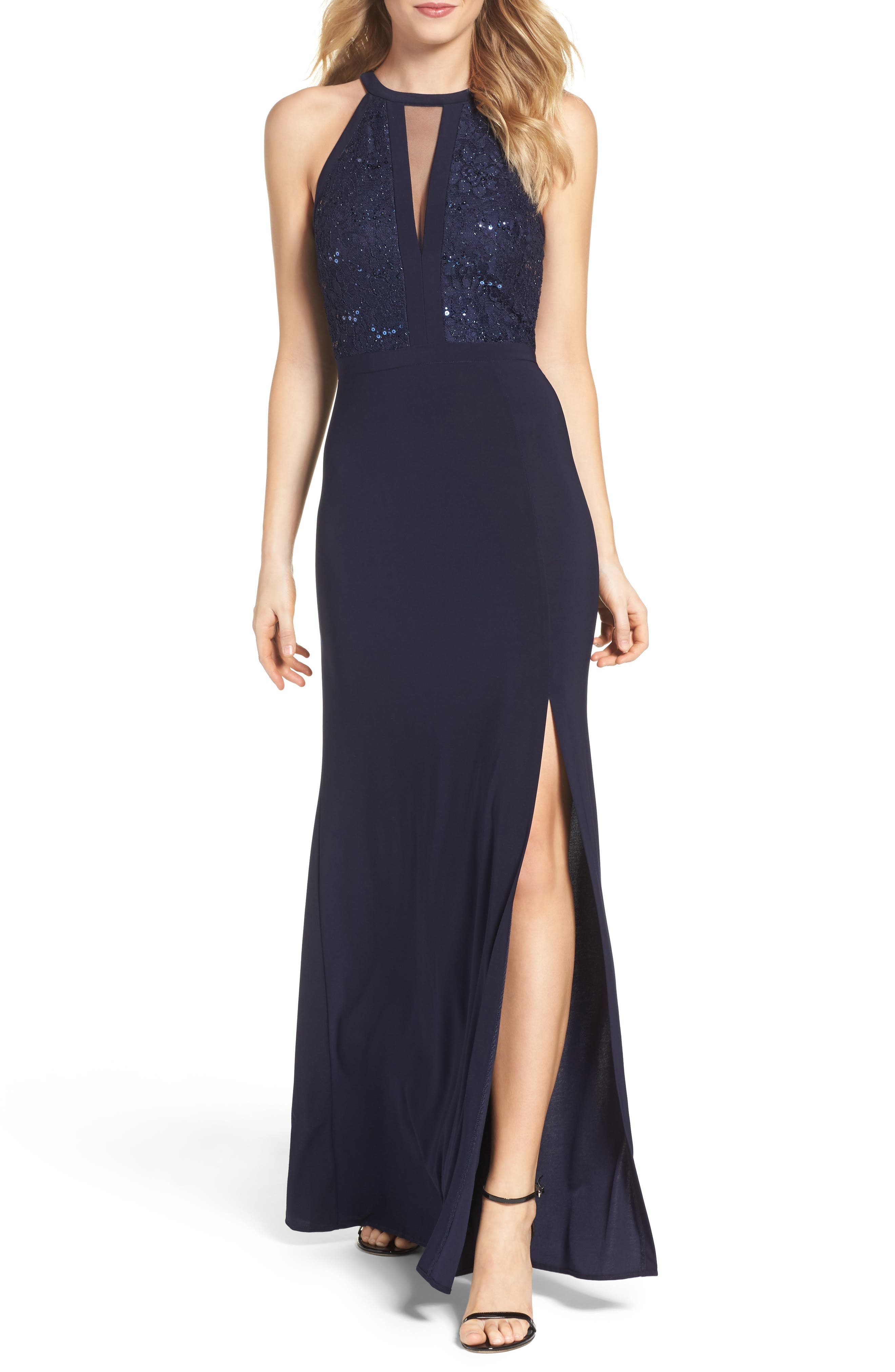 MORGAN & CO.,                             Lace & Jersey Gown,                             Main thumbnail 1, color,                             NAVY