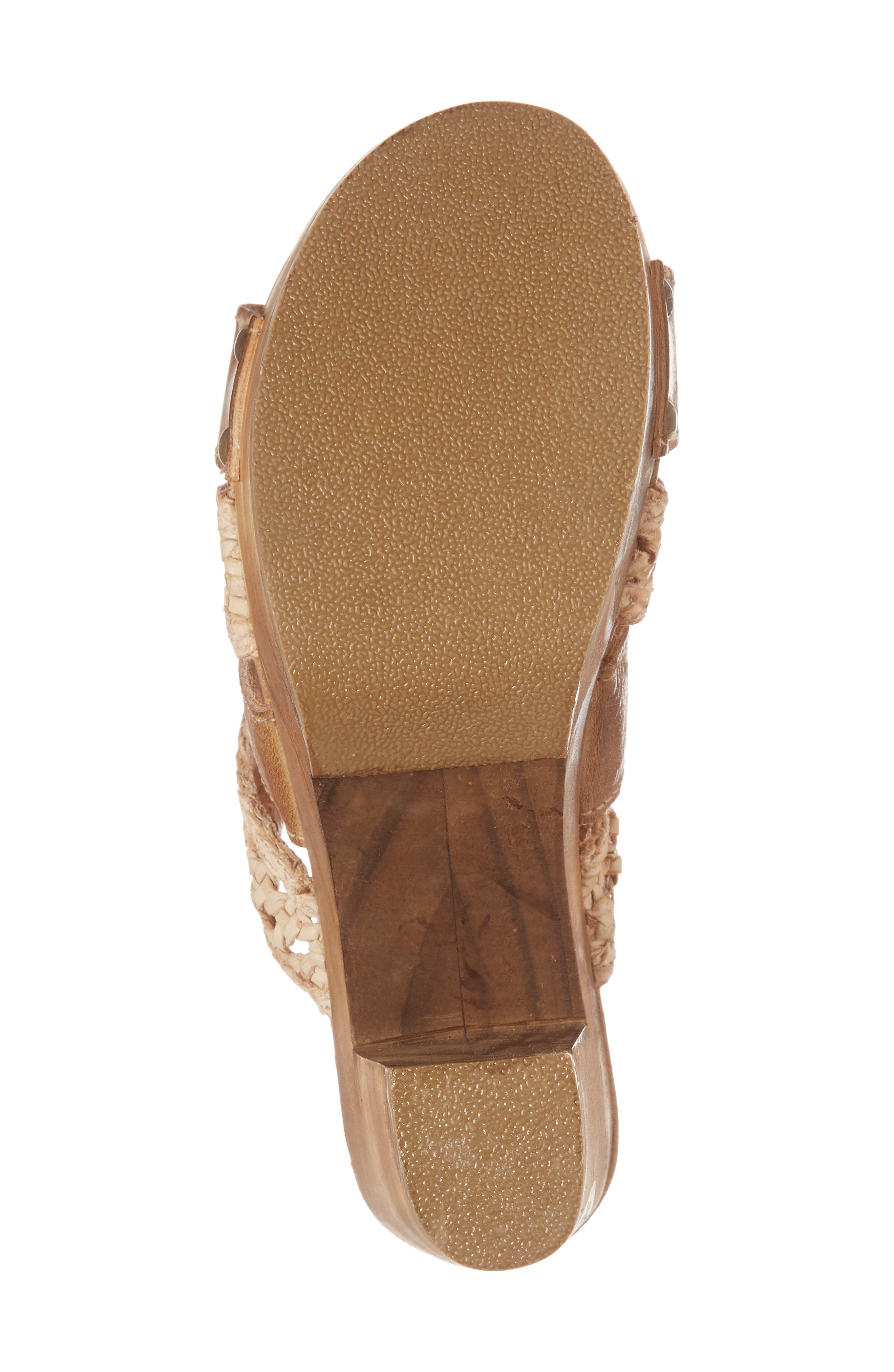 Crystal Platform Slide Sandal,                             Alternate thumbnail 6, color,                             TAN/ BONE LEATHER