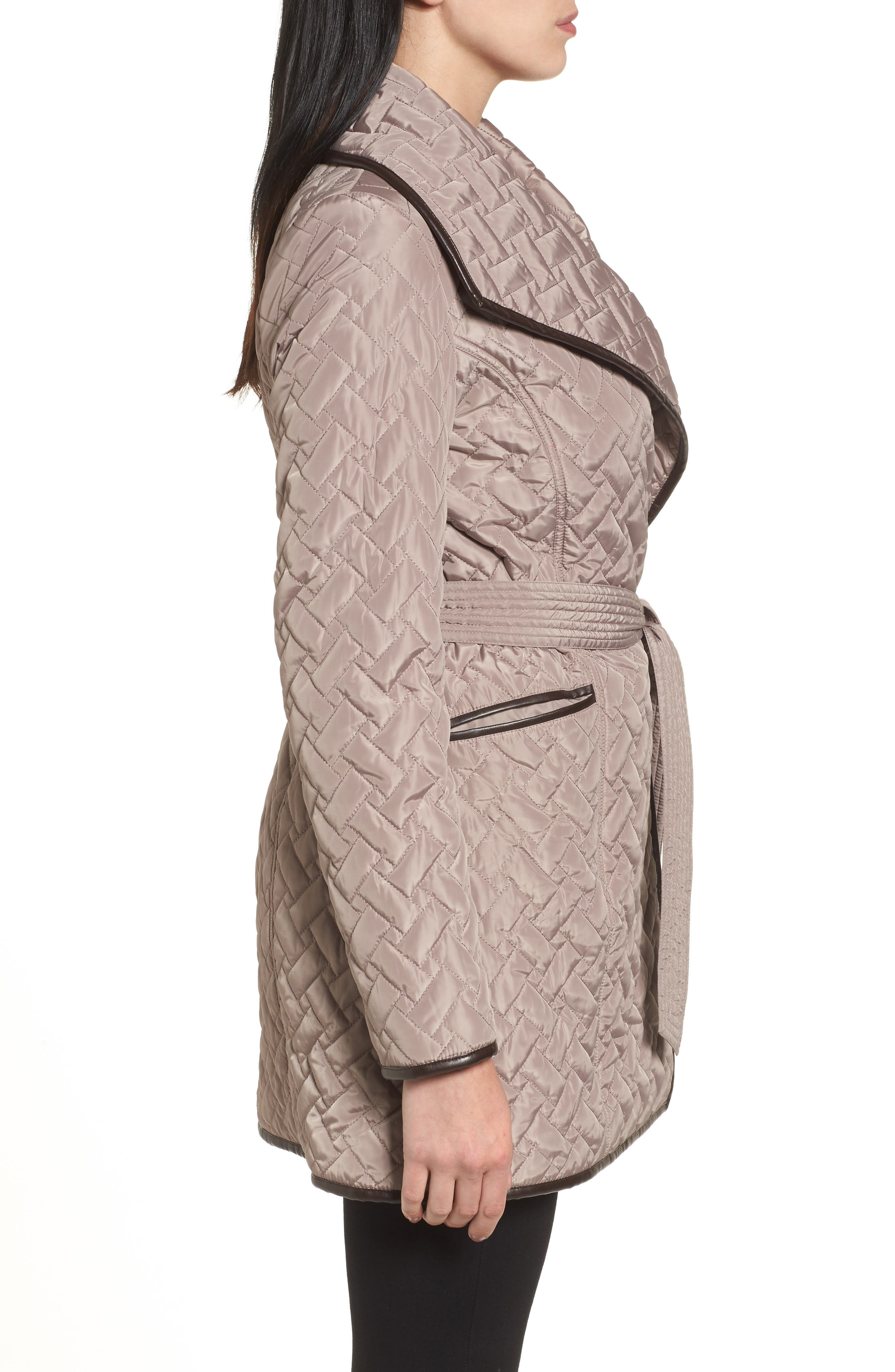 Water Resistant Quilted Wrap Coat,                             Alternate thumbnail 3, color,                             284