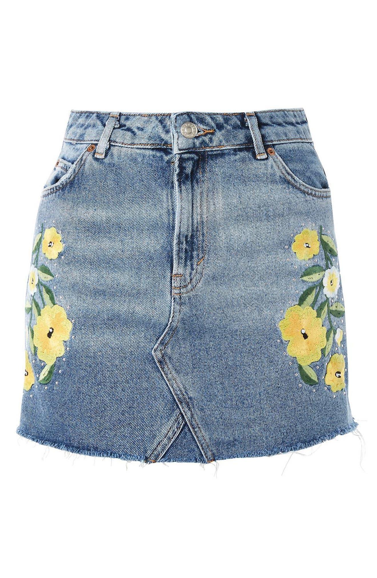 Floral Stud Denim Miniskirt,                             Alternate thumbnail 3, color,                             400