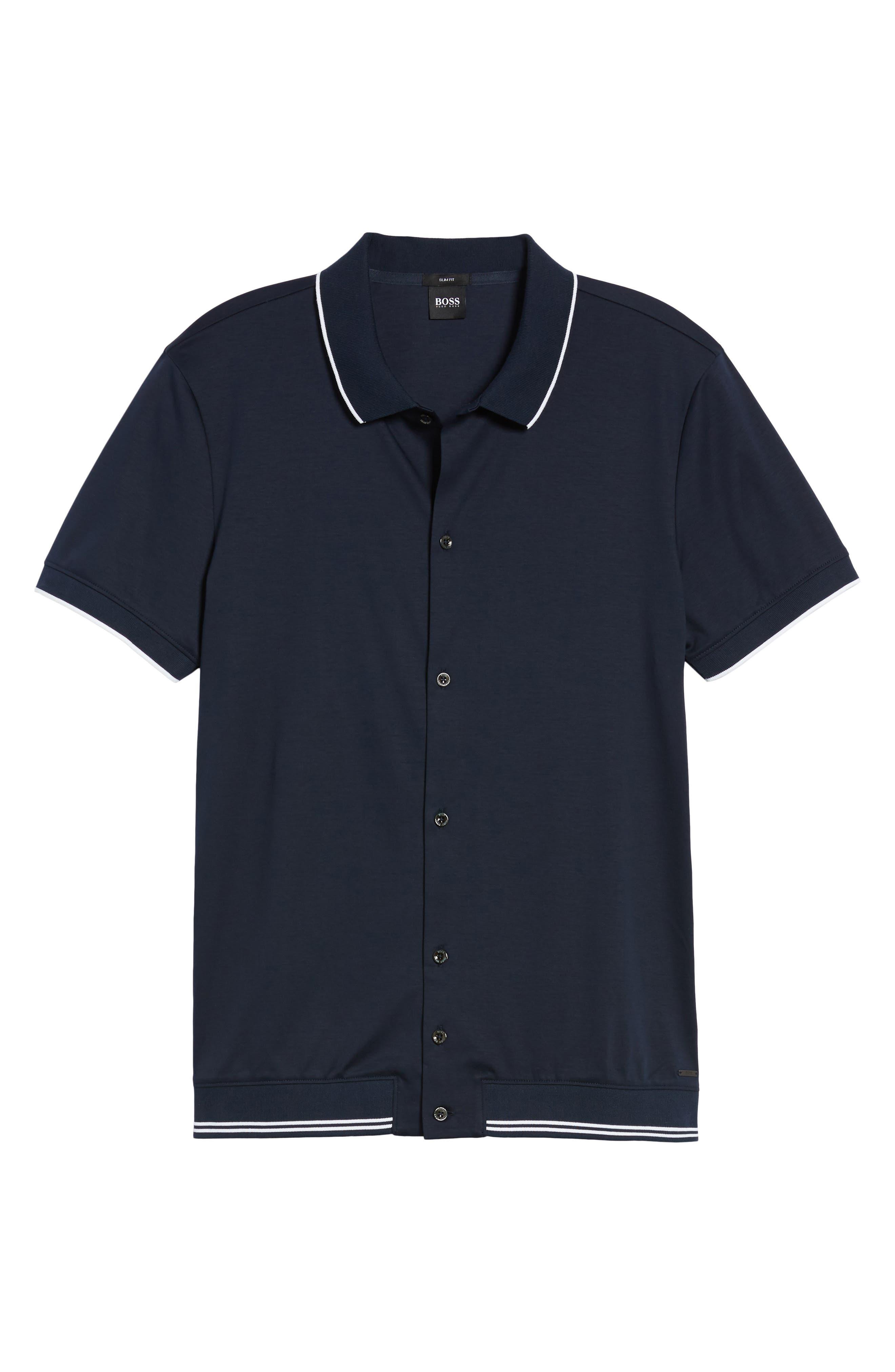 Puno Slim Fit Knit Short Sleeve Sport Shirt,                             Alternate thumbnail 6, color,                             410