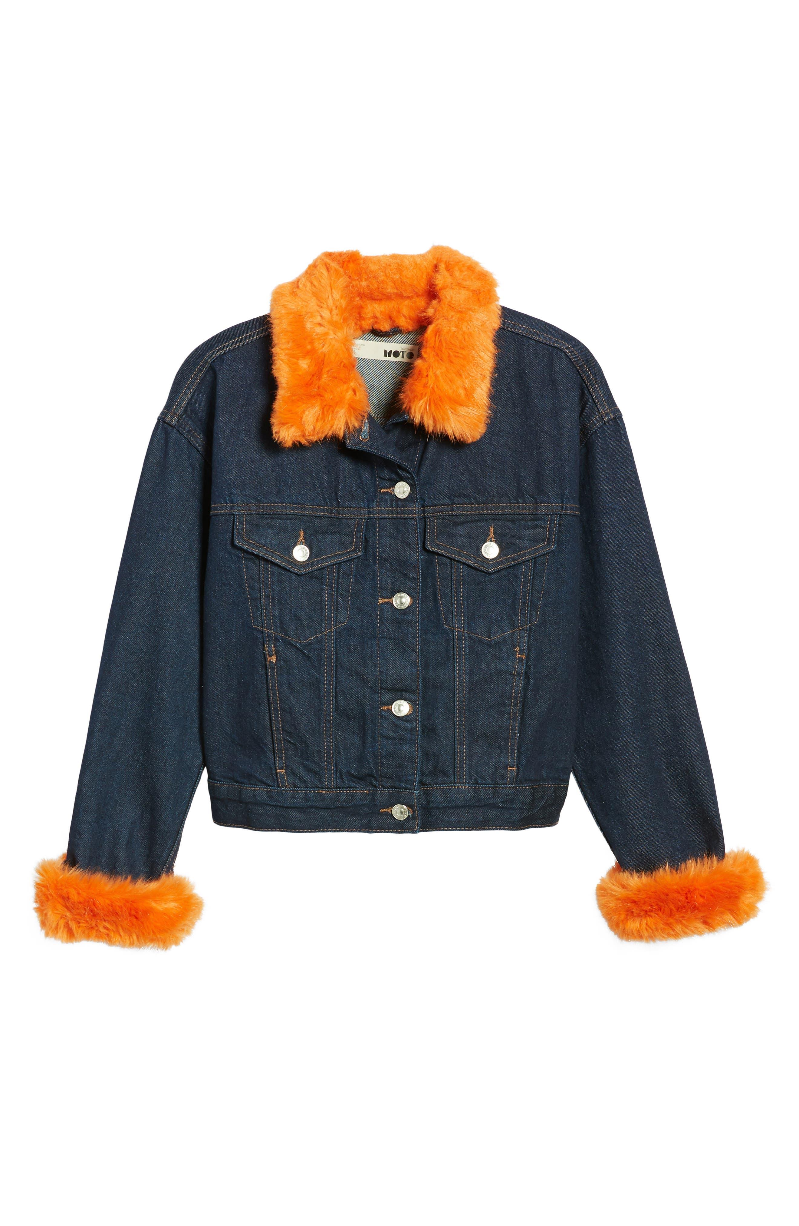 Tilda Faux Fur Trim Denim Jacket,                             Alternate thumbnail 5, color,                             402