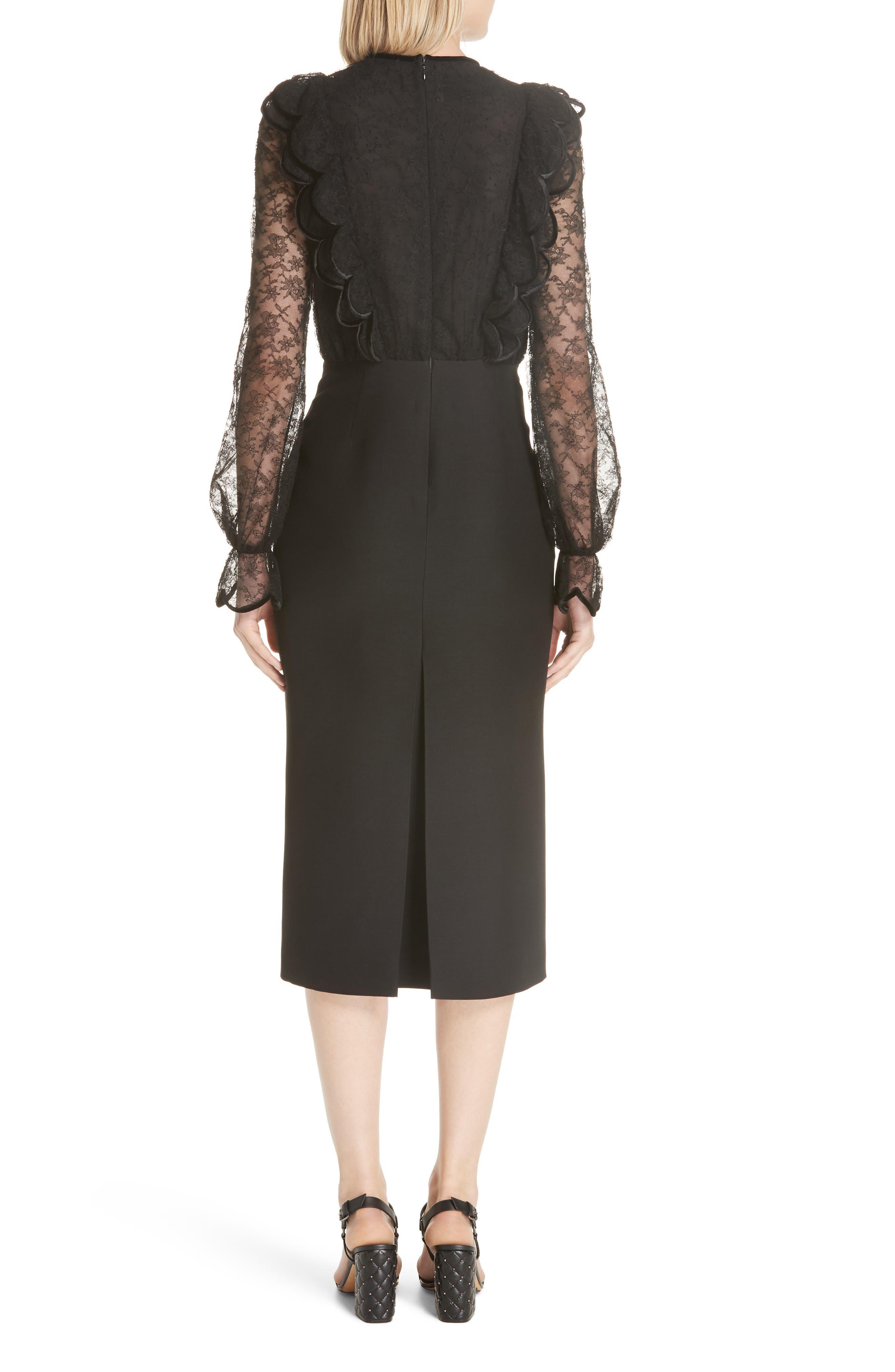Lace Bodice Sheath Dress,                             Alternate thumbnail 2, color,                             001