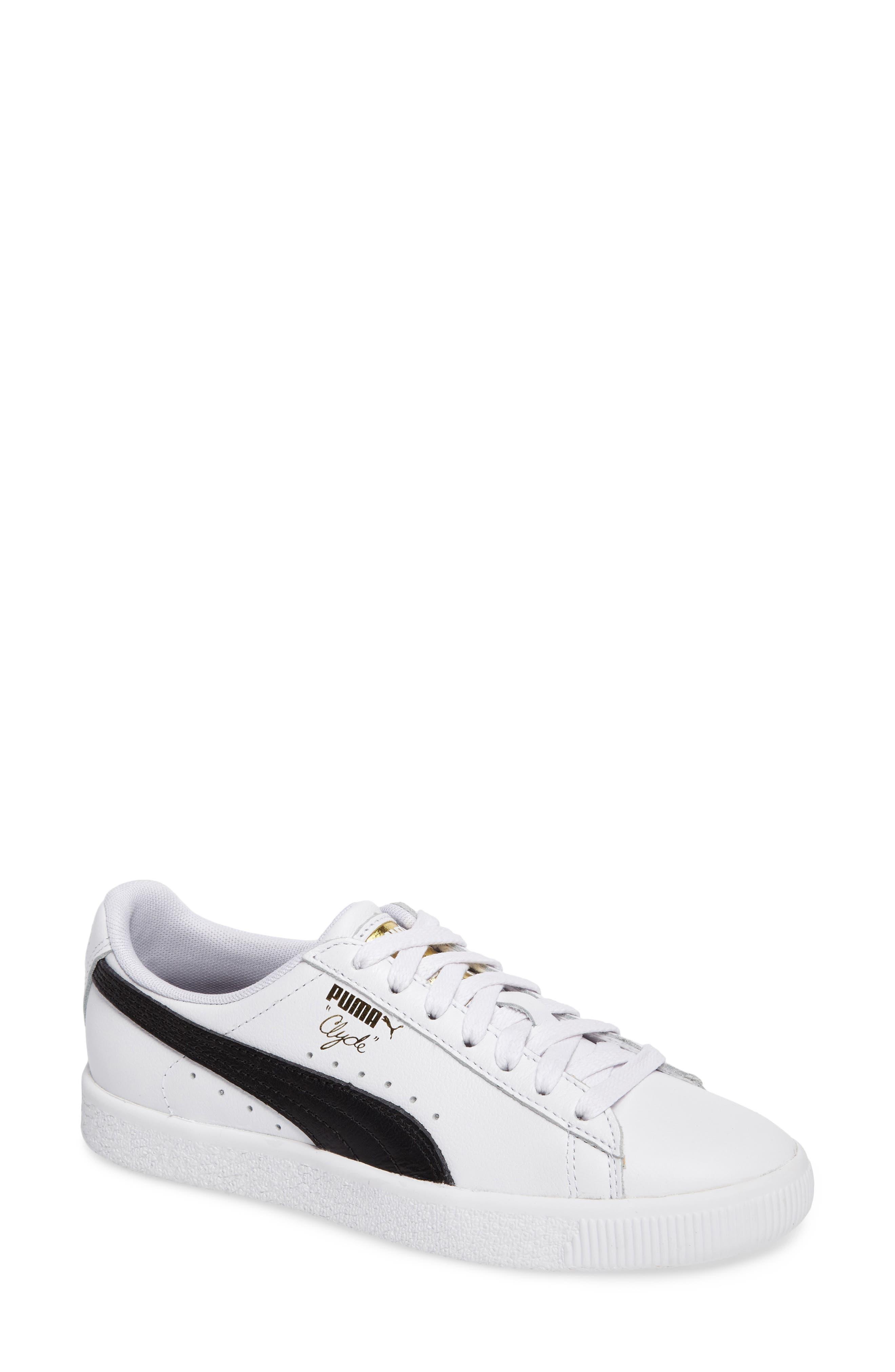 Clyde Sneaker,                             Main thumbnail 1, color,                             WHITE/ BLACK/ GOLD