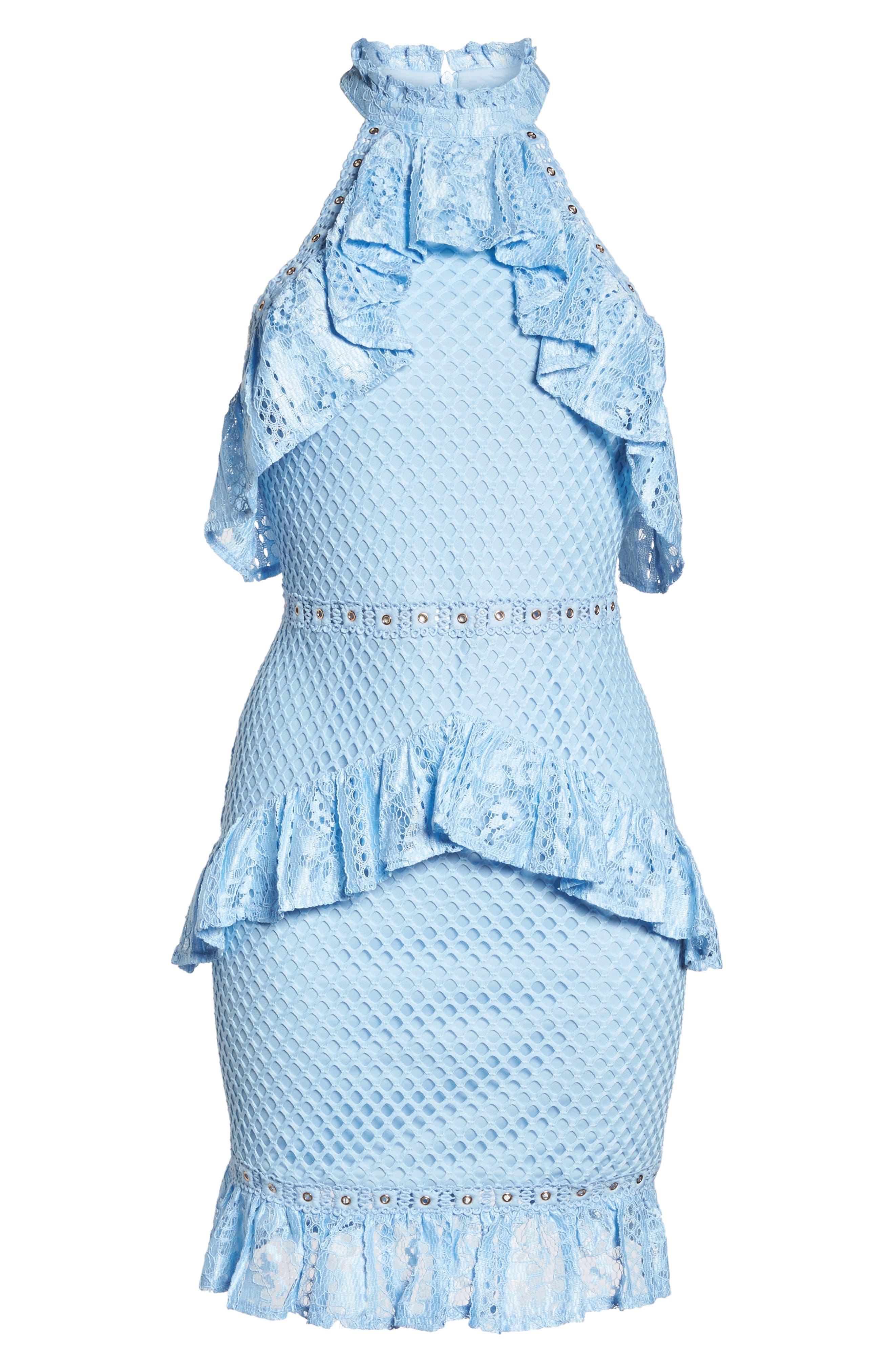 Lace Halter Minidress,                             Alternate thumbnail 6, color,                             460