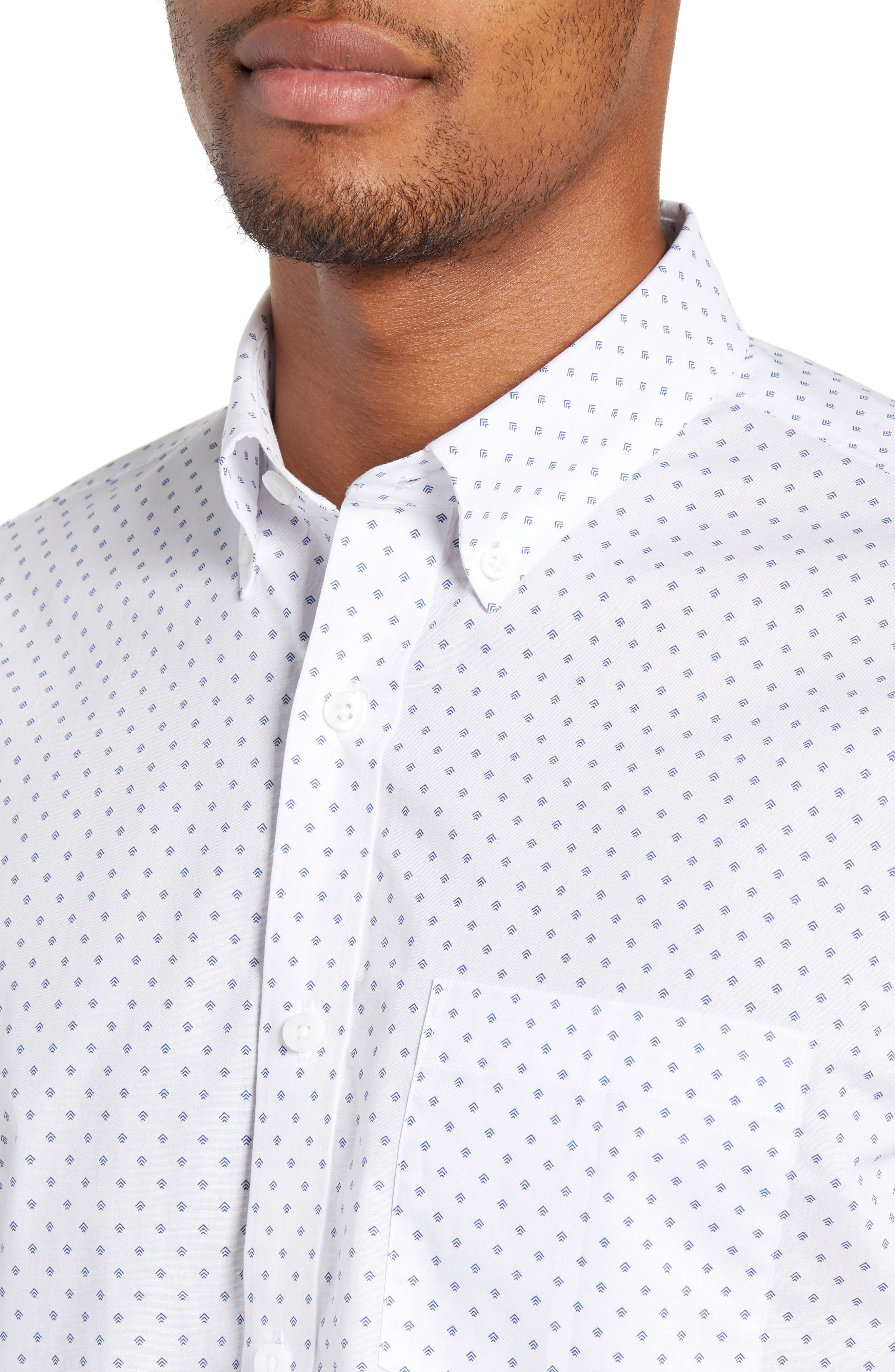 NORDSTROM MEN'S SHOP,                             Slim Fit Non-Iron Geo Print Sport Shirt,                             Alternate thumbnail 2, color,                             100