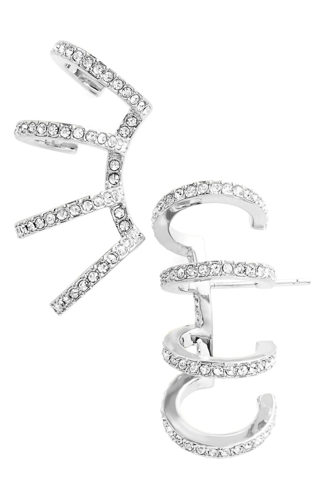 'Starry Night' Crystal Ear Crawlers,                             Main thumbnail 1, color,                             SILVER/ CLEAR