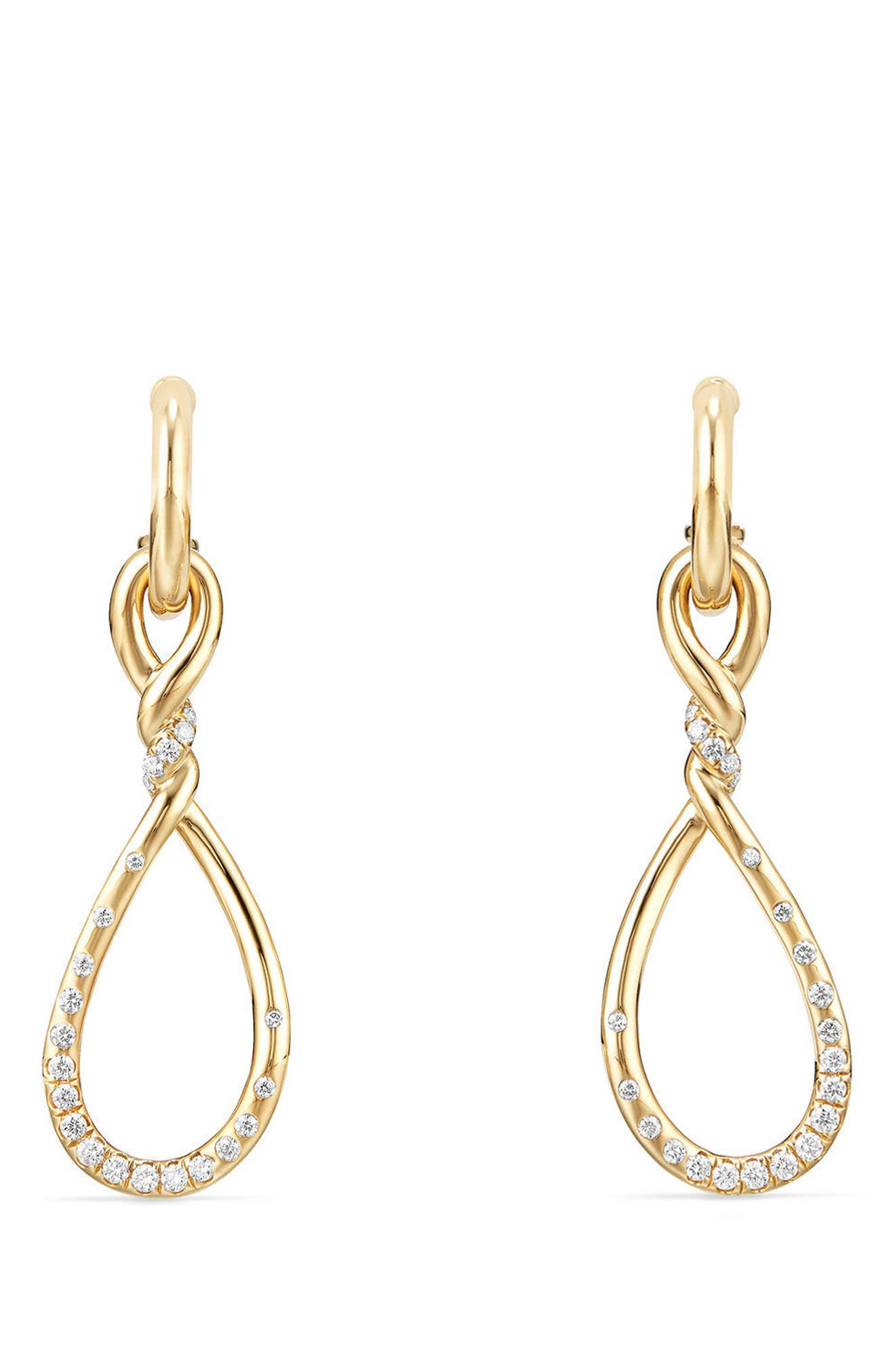 Continuance Medium Drop Earrings with Diamonds in 18K Gold,                             Main thumbnail 1, color,                             710