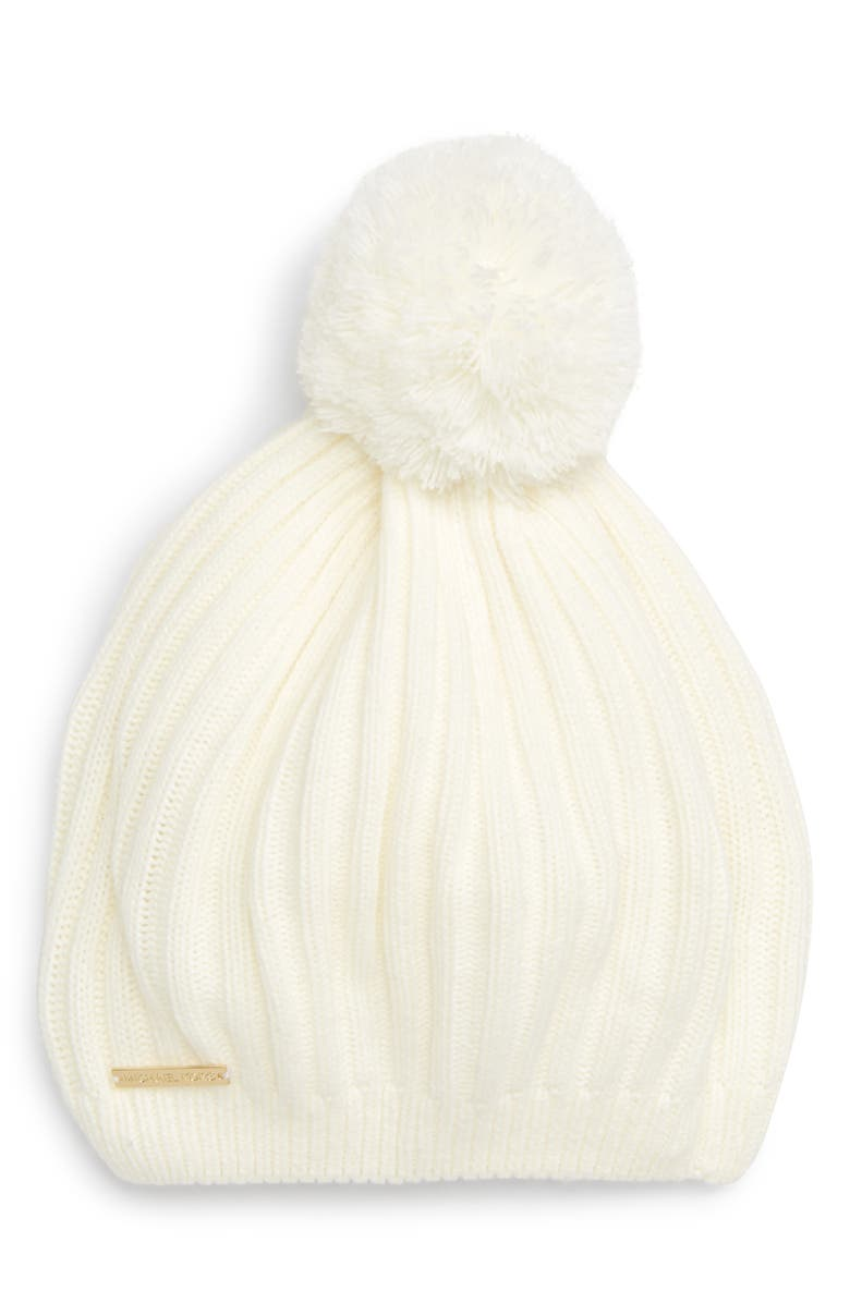 Ribbed Pom Beret,                         Main,                         color, CREAM/ GOLD