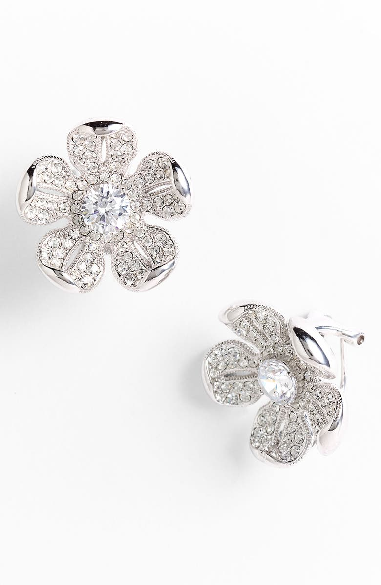Eden Flower Pavé Clip Earrings