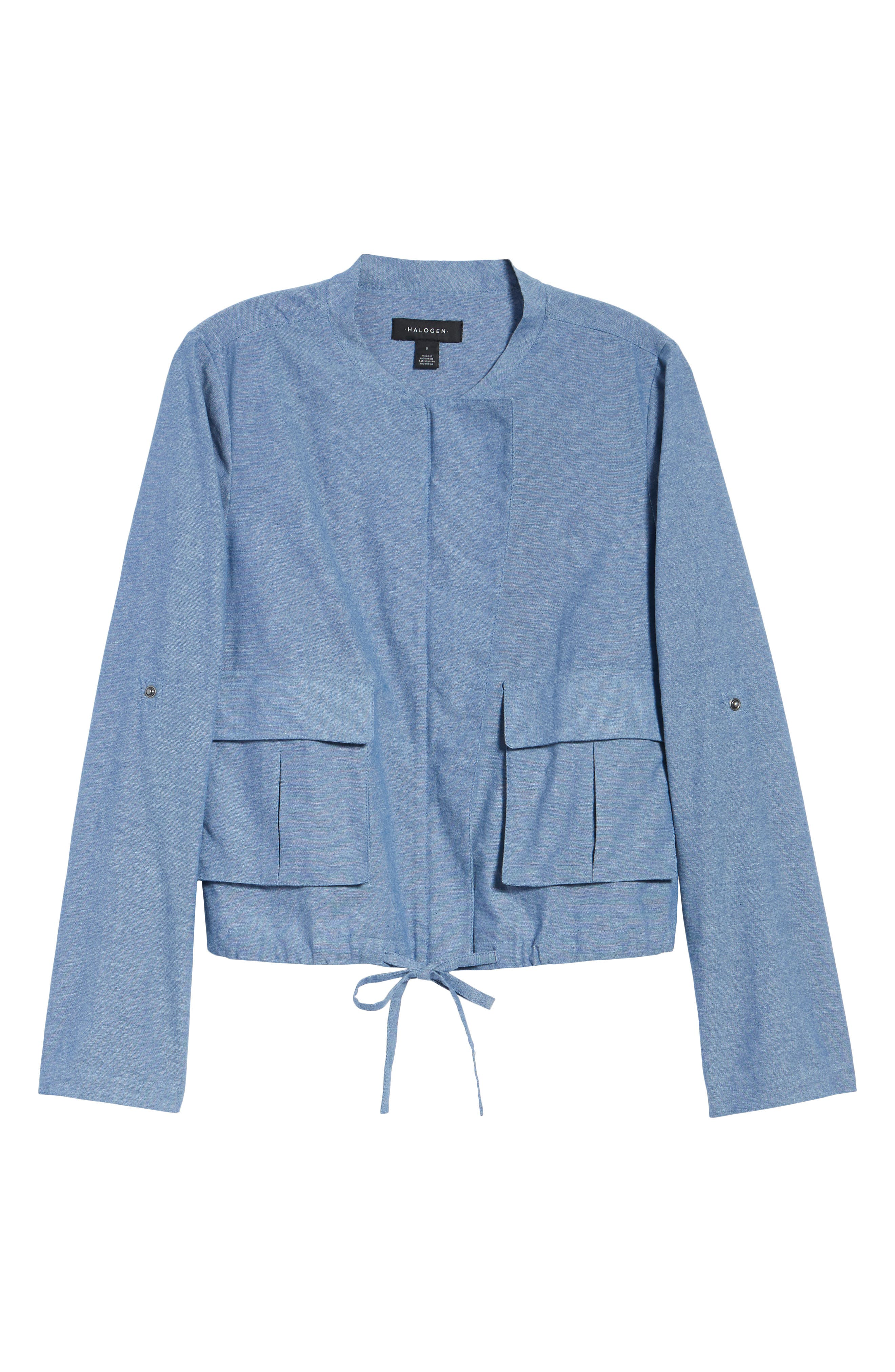 Linen Blend Chambray Tie Waist Jacket,                             Alternate thumbnail 6, color,