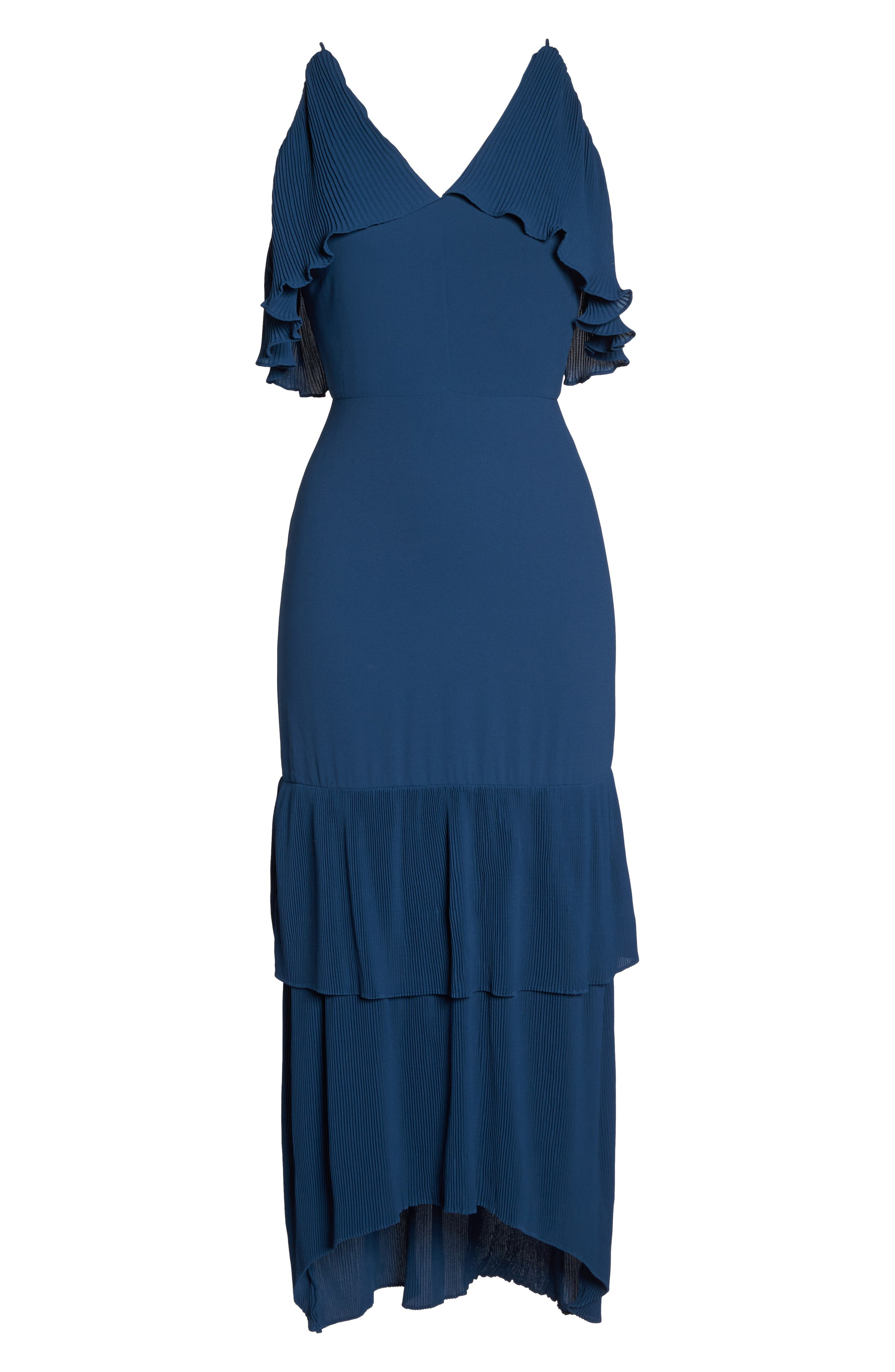 Kate Pleated Ruffle Midi Dress,                             Alternate thumbnail 6, color,                             415