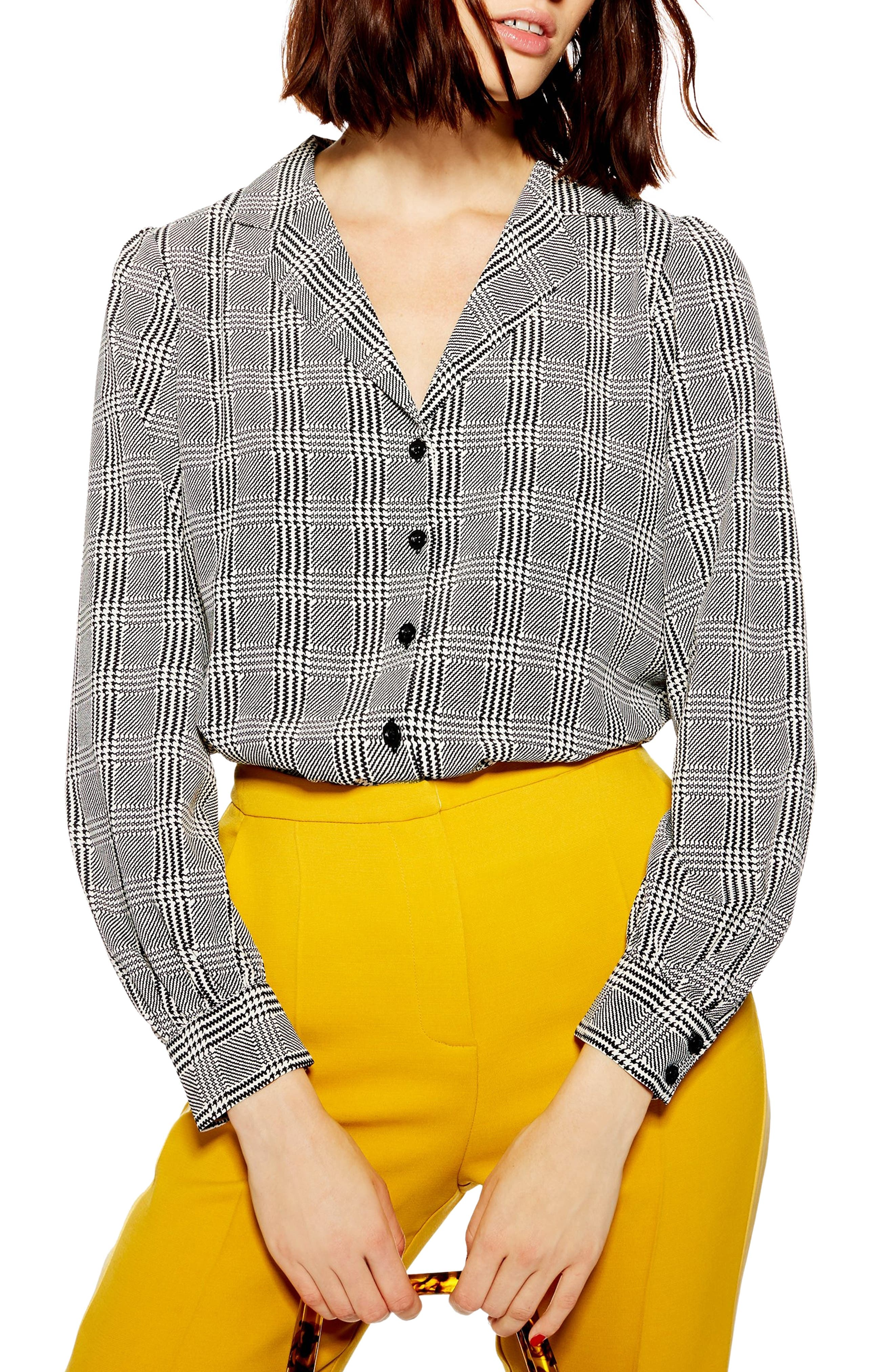 TOPSHOP Houndstooth Shirt, Main, color, BLACK MULTI