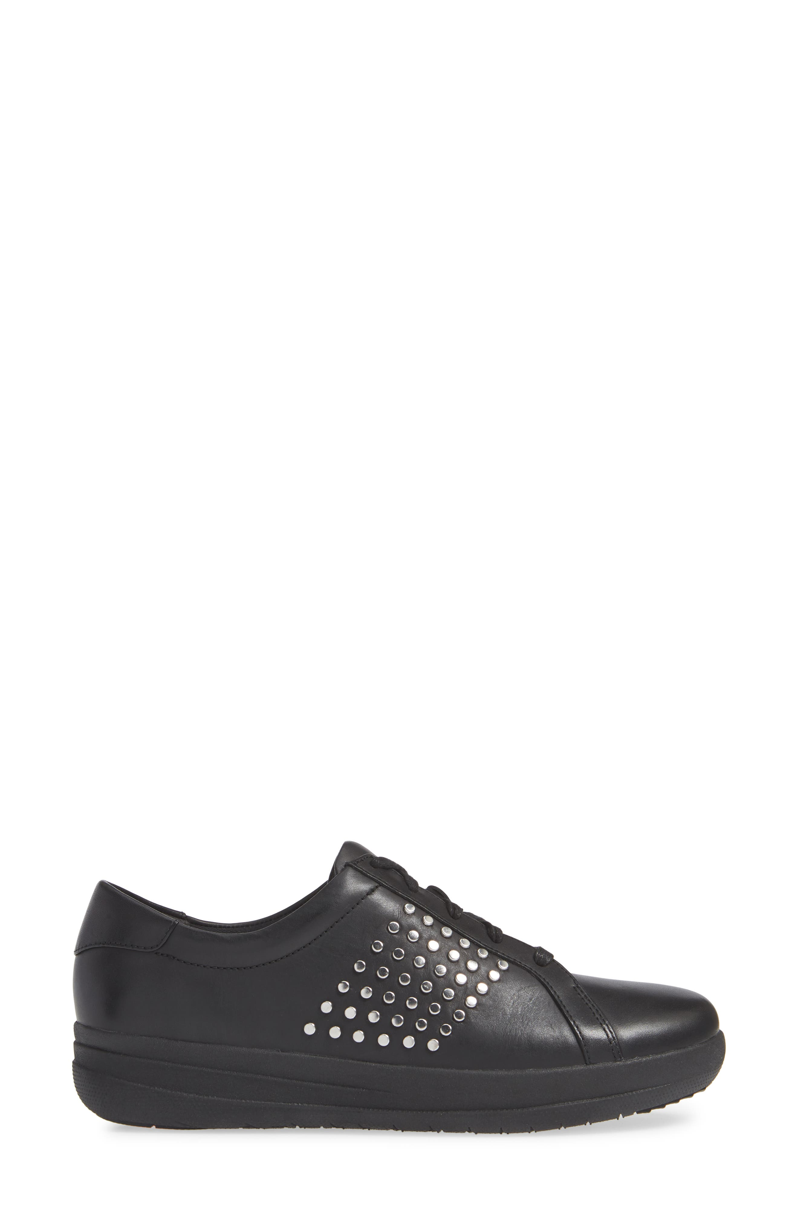 F-Sporty II Studded Sneaker,                             Alternate thumbnail 3, color,                             BLACK LEATHER