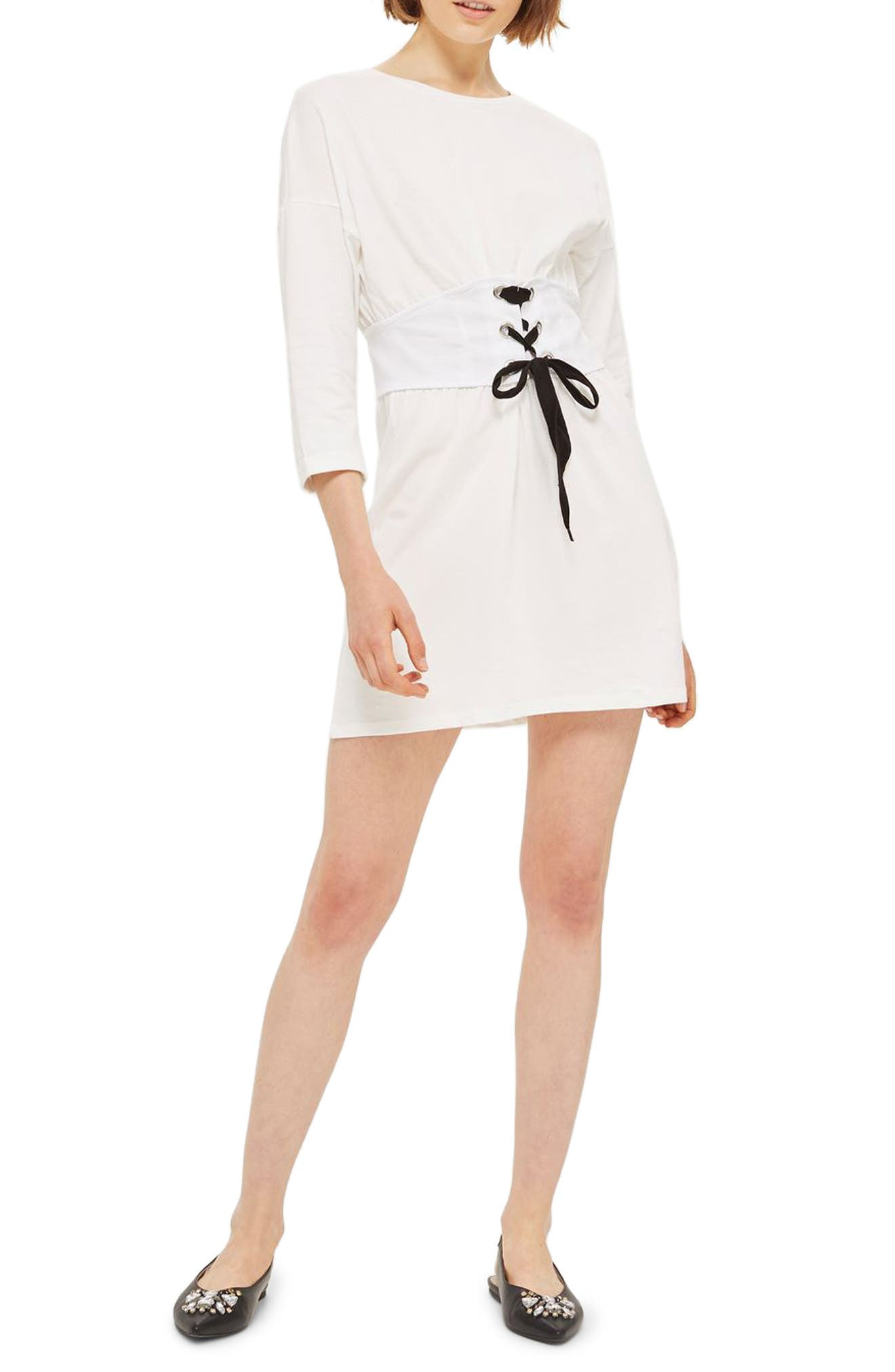 Corset T-Shirt Dress,                         Main,                         color, 900