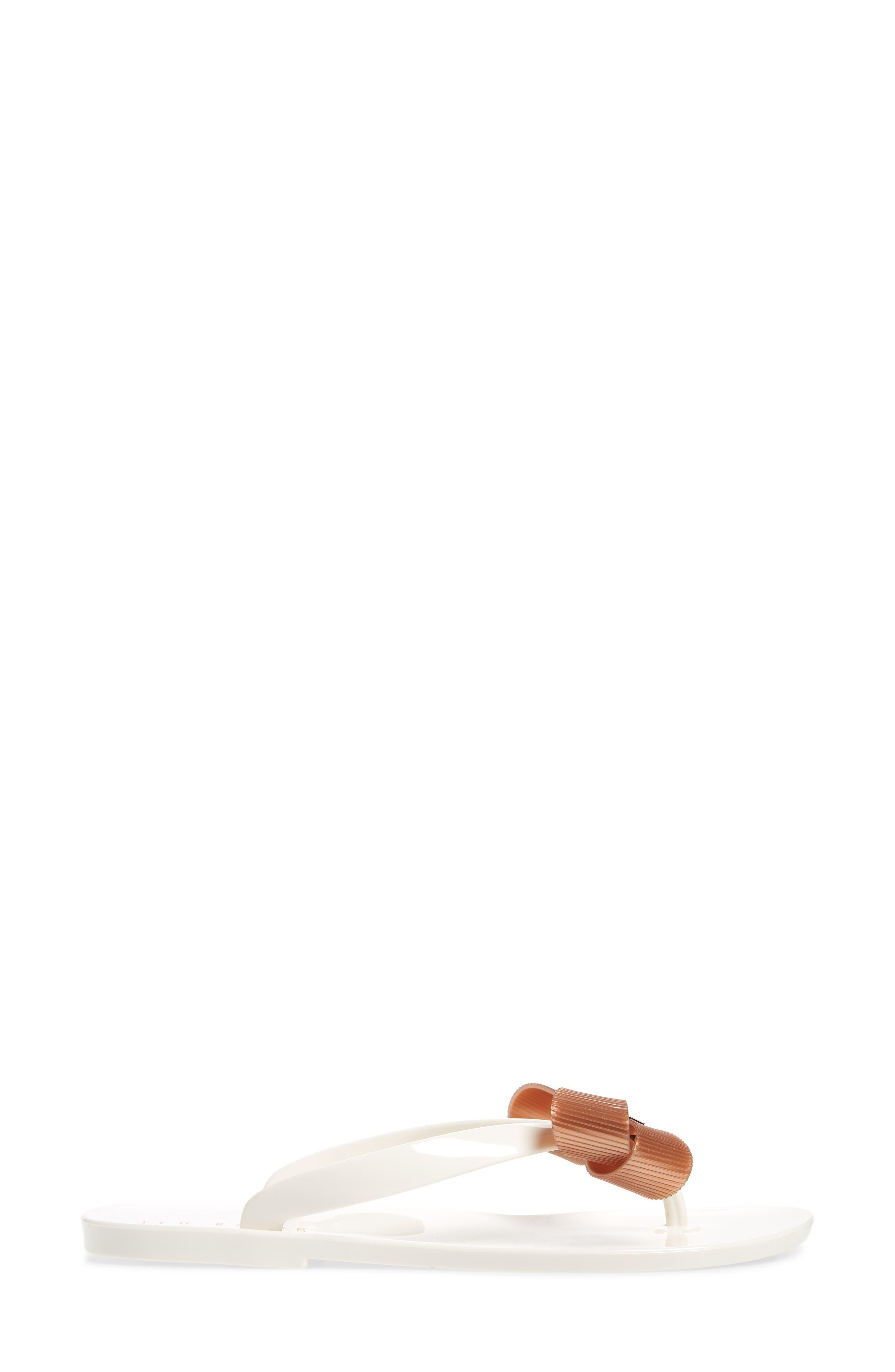 Suszie Flip Flop,                             Alternate thumbnail 3, color,                             WHITE/ ROSE GOLD FABRIC