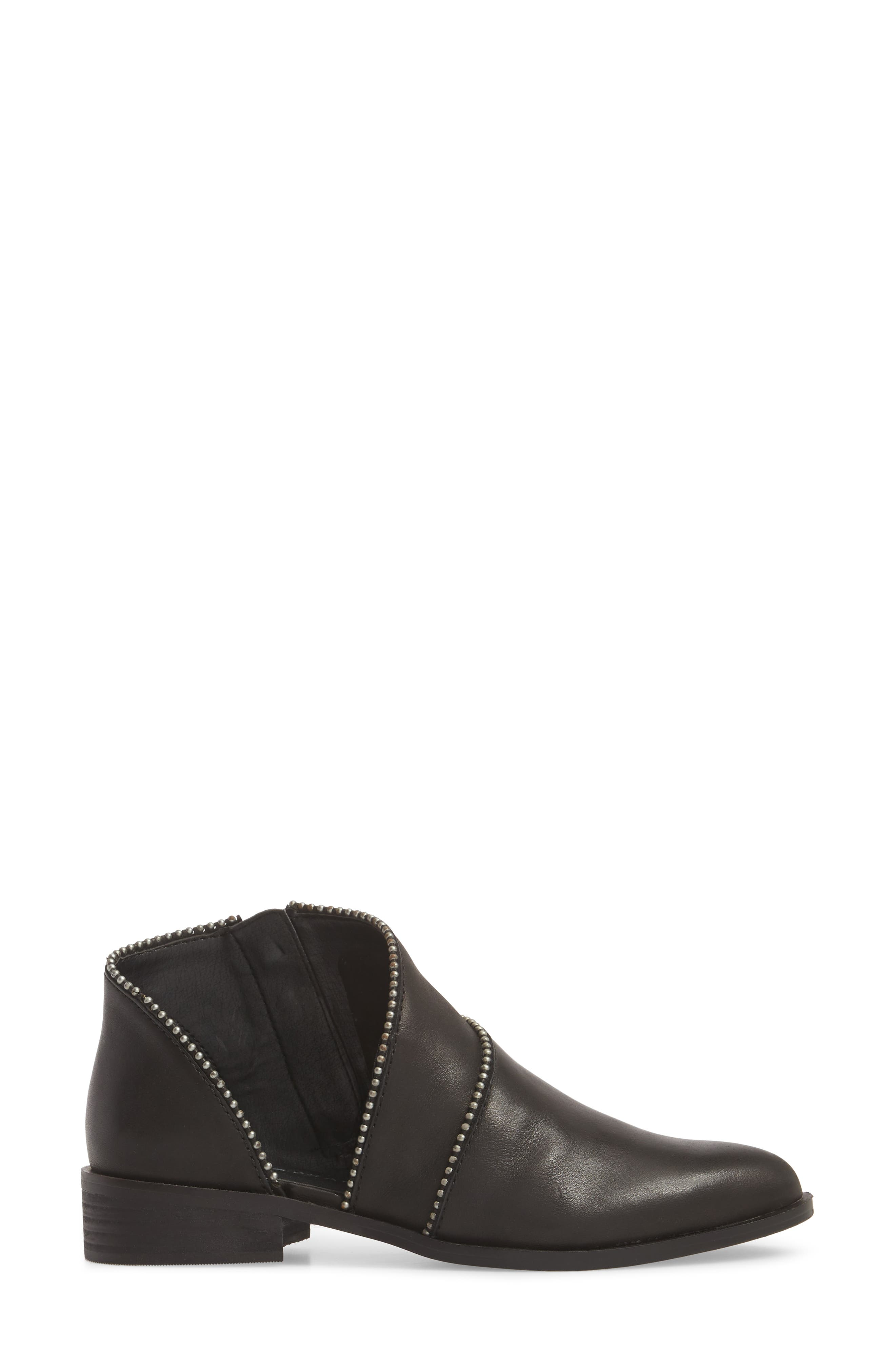 Prucella Bootie,                             Alternate thumbnail 3, color,                             BLACK LEATHER