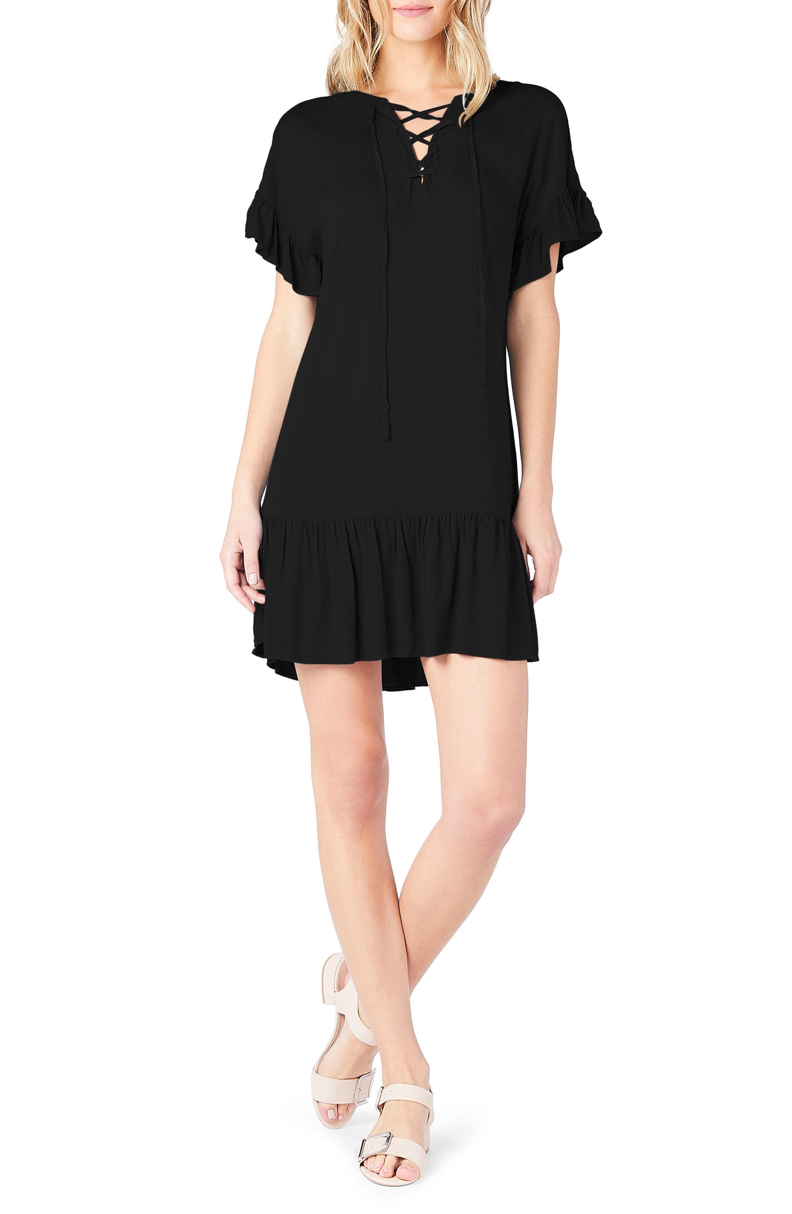Ruffled Lace-Up Dresss,                             Main thumbnail 1, color,                             001