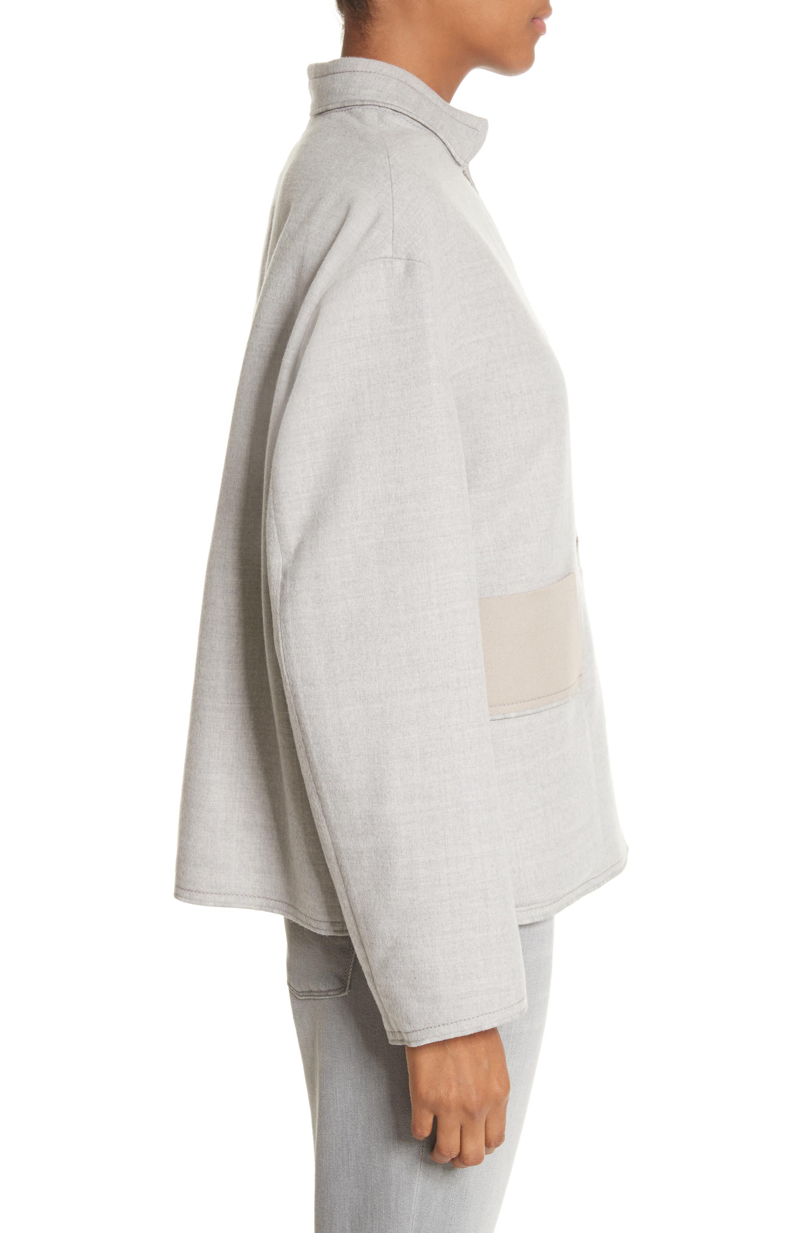 Double Face Silk & Wool Jacket,                             Alternate thumbnail 3, color,                             050