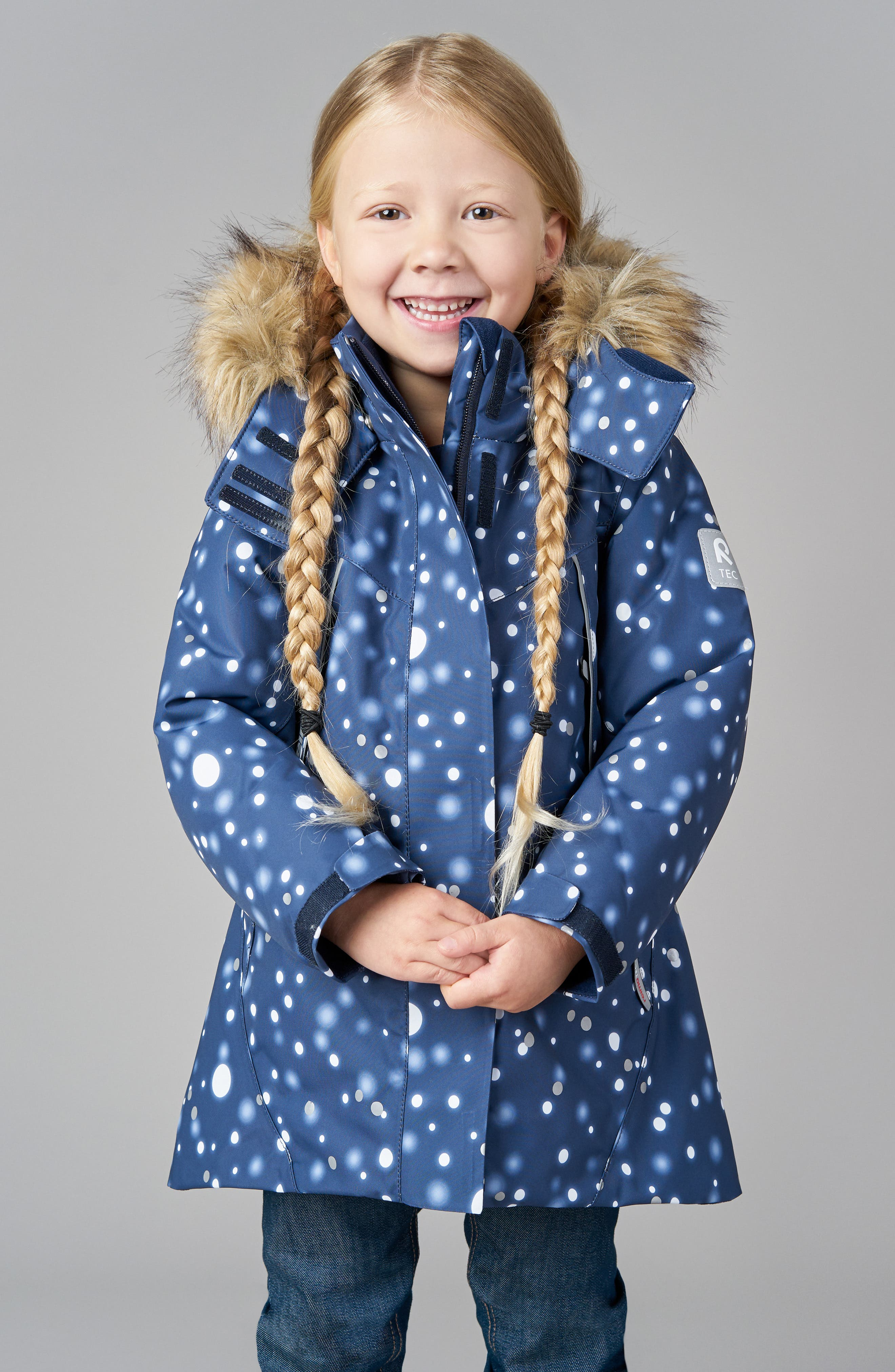 Silda Reimatec<sup>®</sup> Waterproof Hooded Jacket with Faux Fur Trim,                             Alternate thumbnail 3, color,                             BLUE