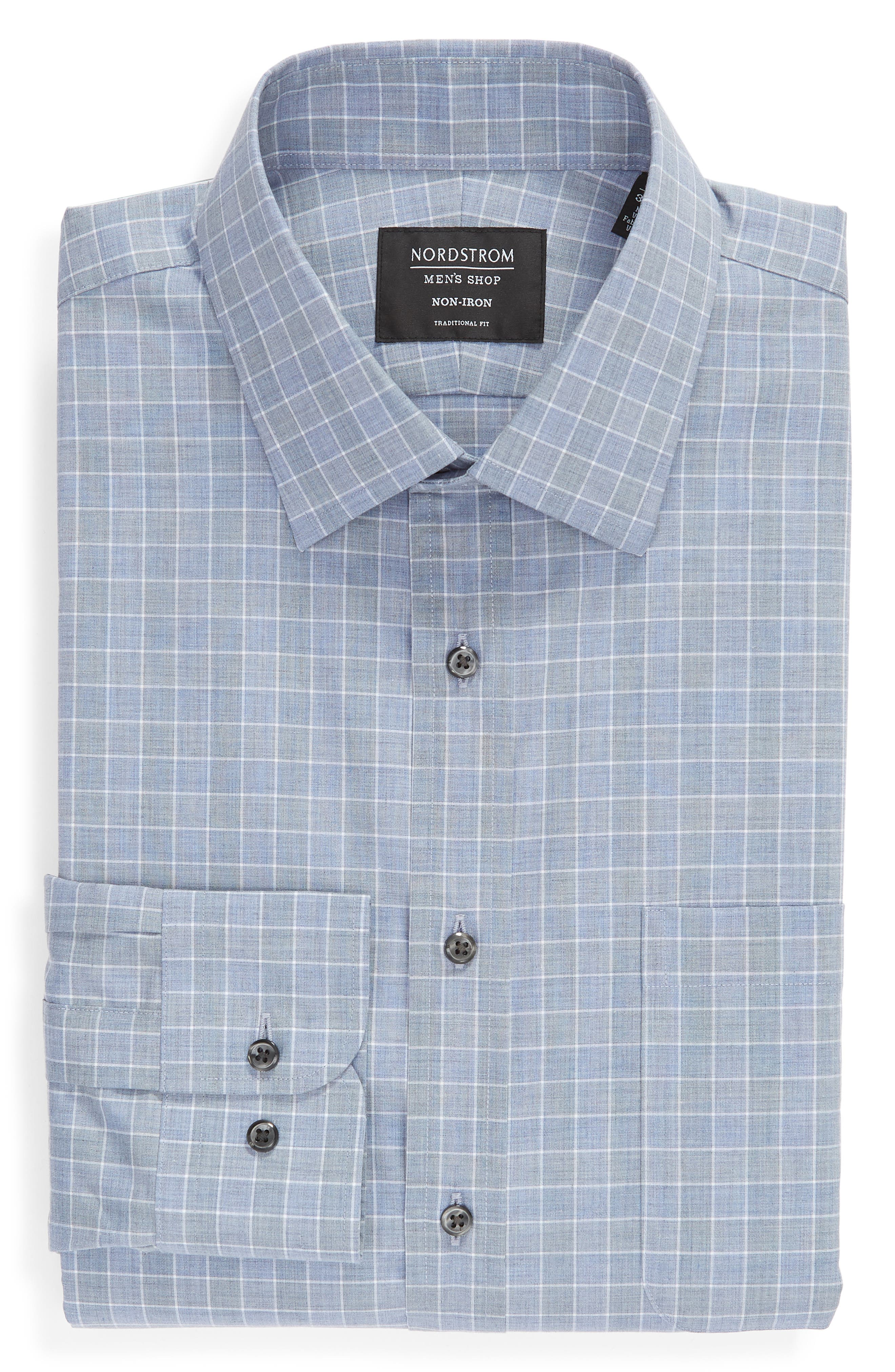 Traditional Fit No-Iron Check Dress Shirt,                             Alternate thumbnail 5, color,                             BLUE INFINITY